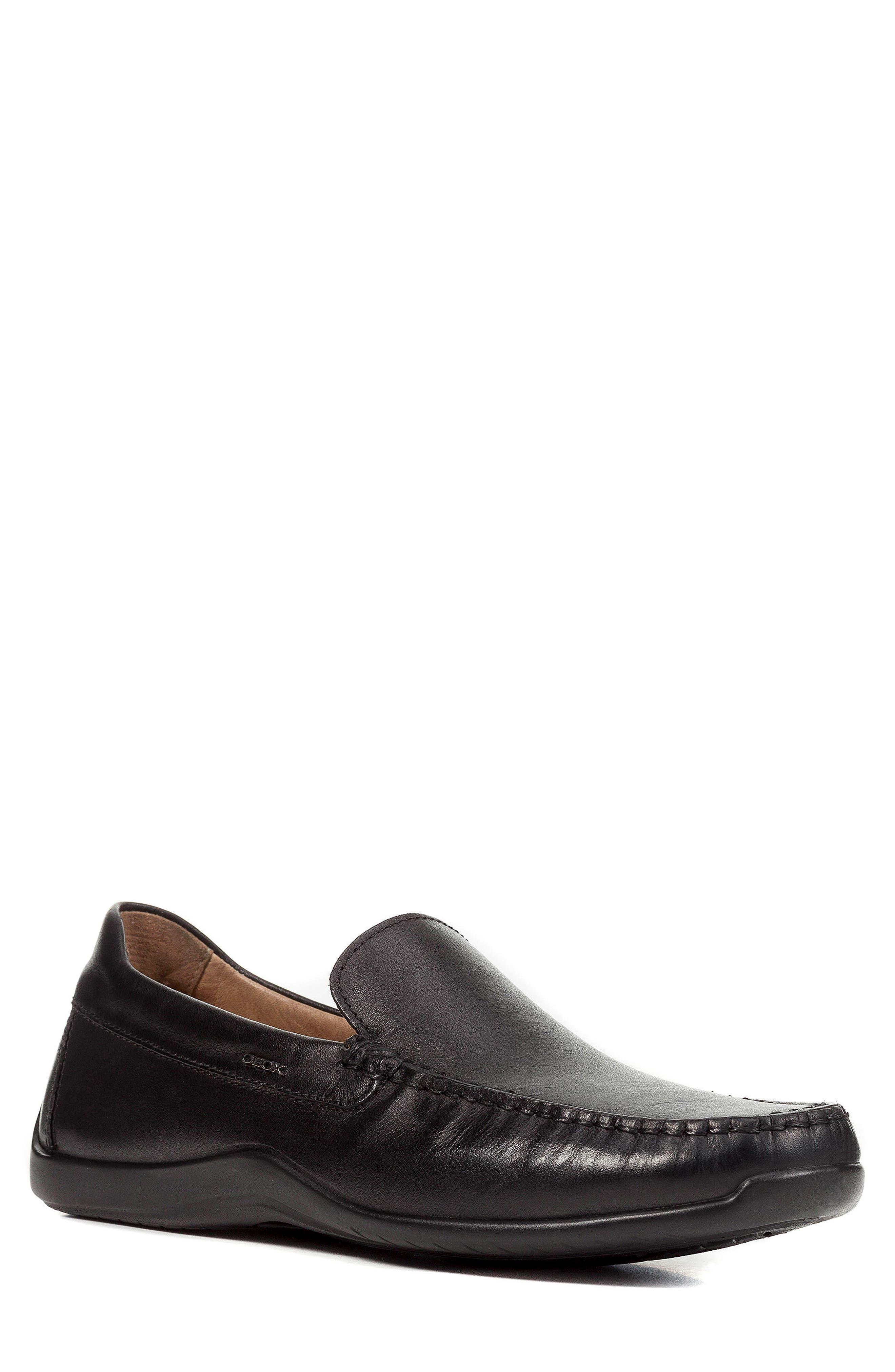 'U Xense Mox' Driving Shoe,                         Main,                         color, Black Leather