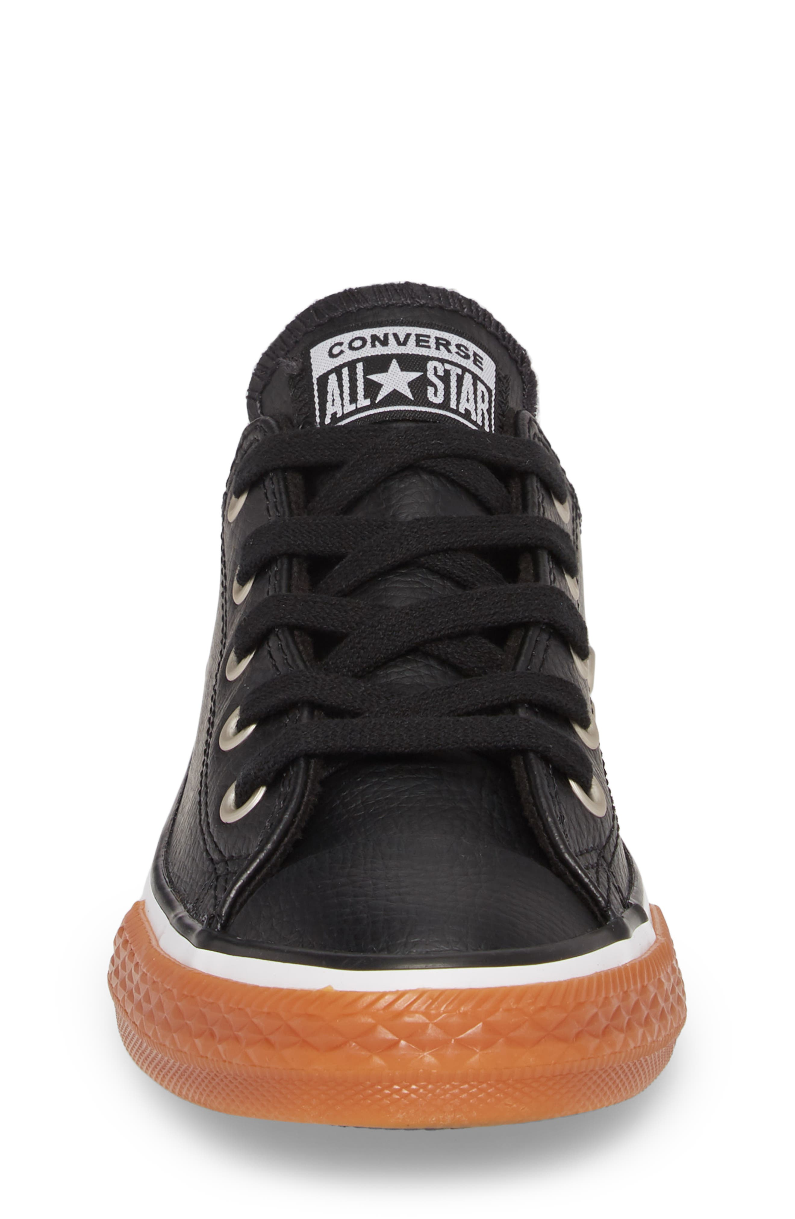 Chuck Taylor<sup>®</sup> All Star<sup>®</sup> Ox Faux Leather Sneaker,                             Alternate thumbnail 4, color,                             Black