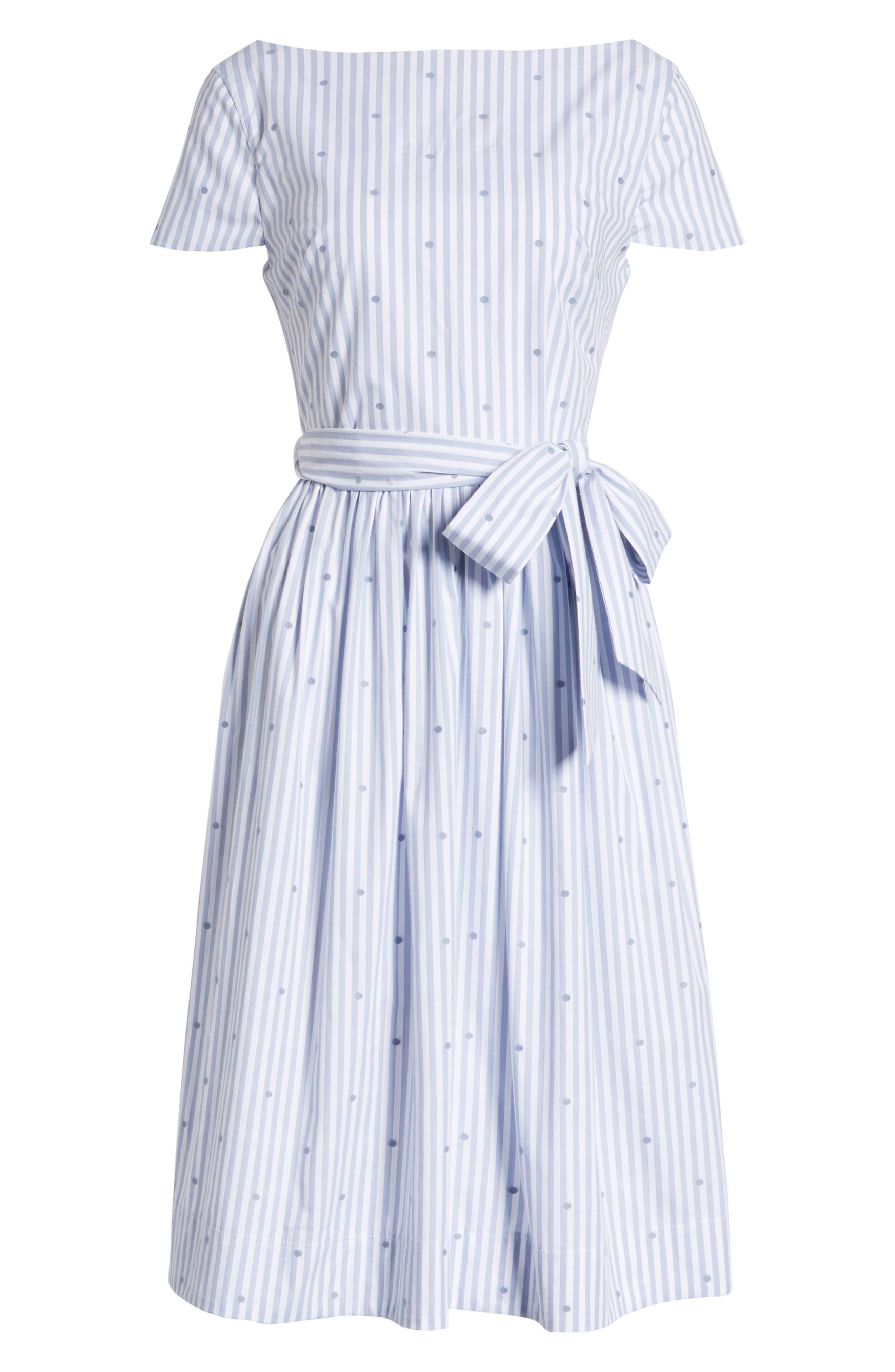 Stripe & Dot Cotton Dress,                             Alternate thumbnail 6, color,                             Eve Dot Stripe