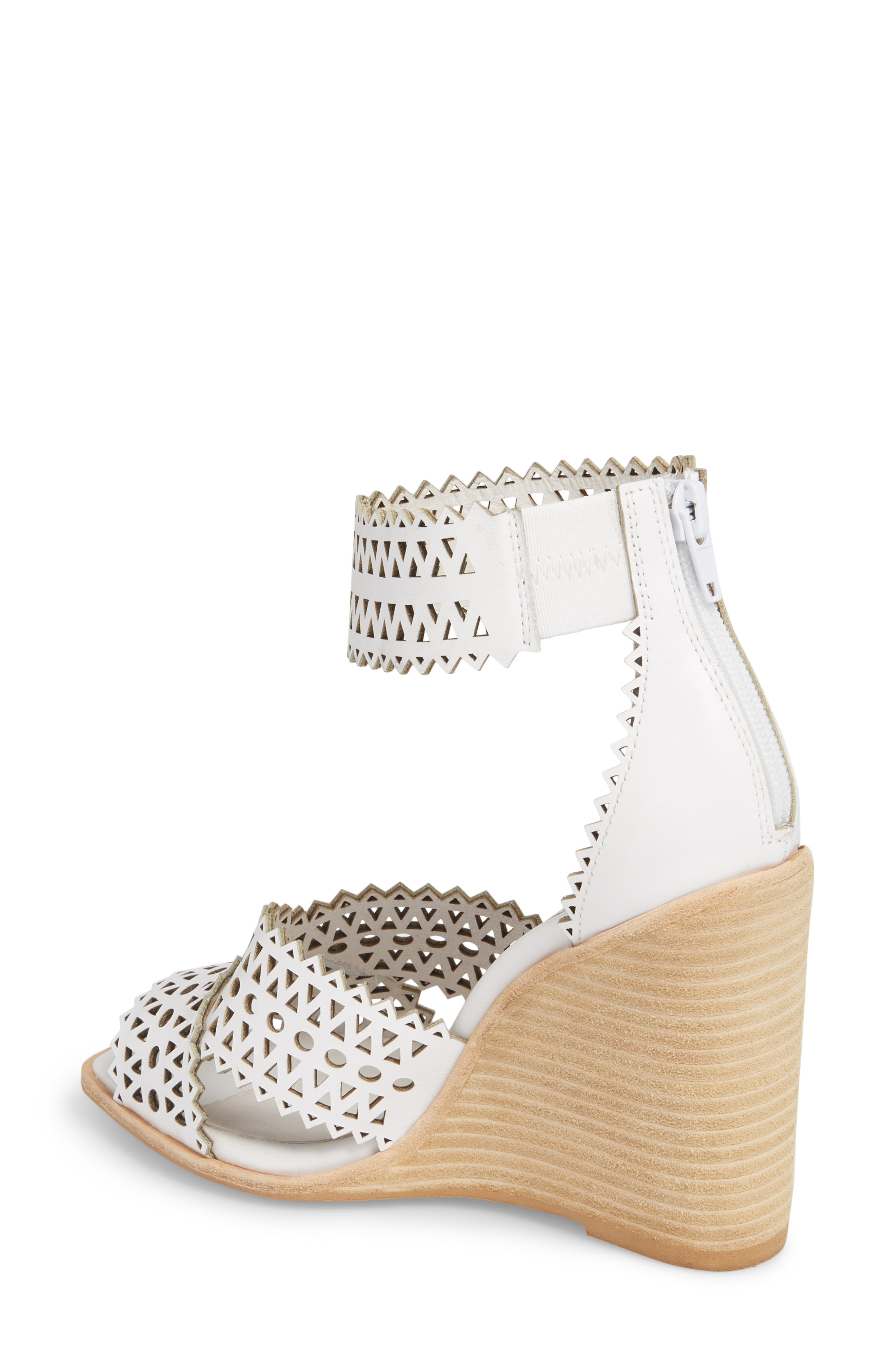 Besante Perforated Wedge Sandal,                             Alternate thumbnail 2, color,                             White