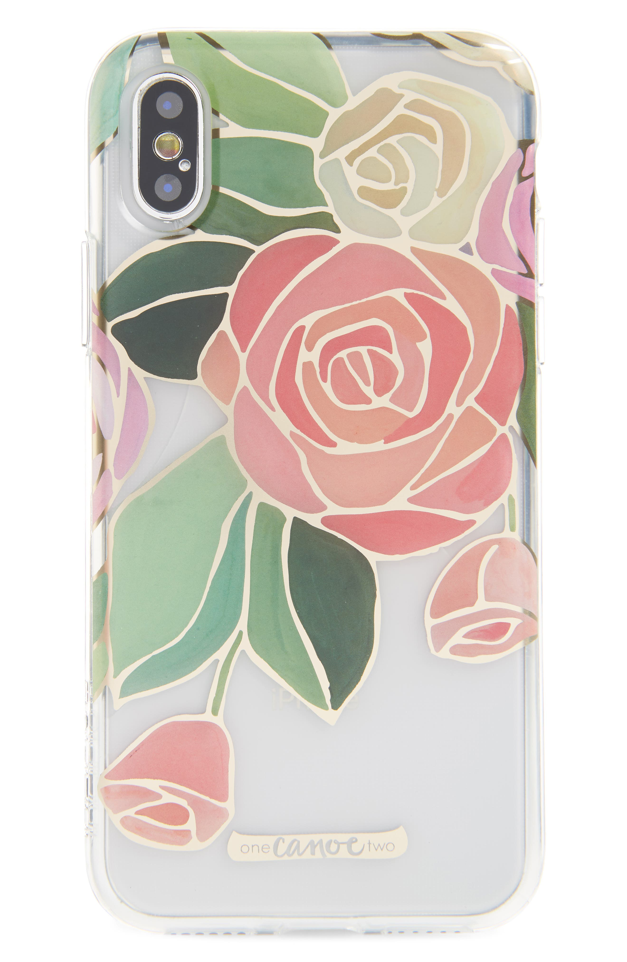 One Canoe Two Roses iPhone X & Xs Case,                             Main thumbnail 1, color,                             Pink/ Clear Multi
