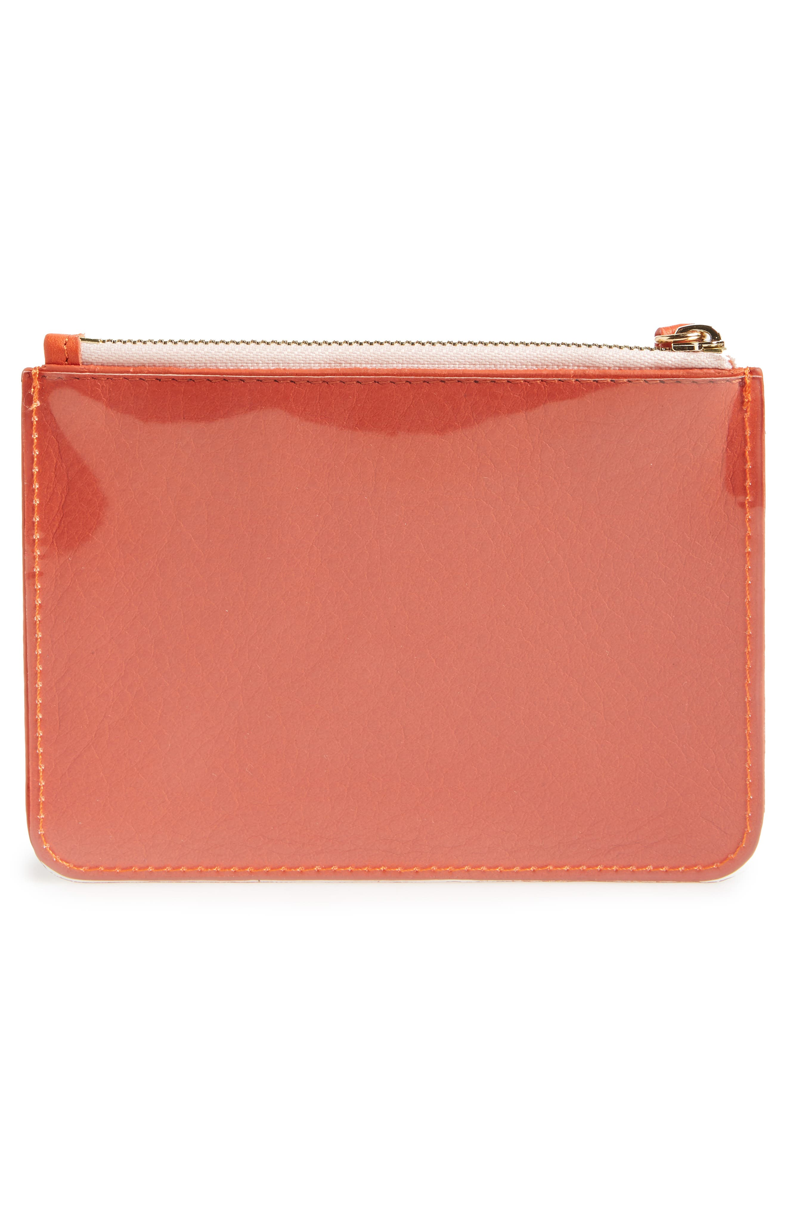 Privacy Leather Coin Pouch,                             Alternate thumbnail 4, color,                             Poppy