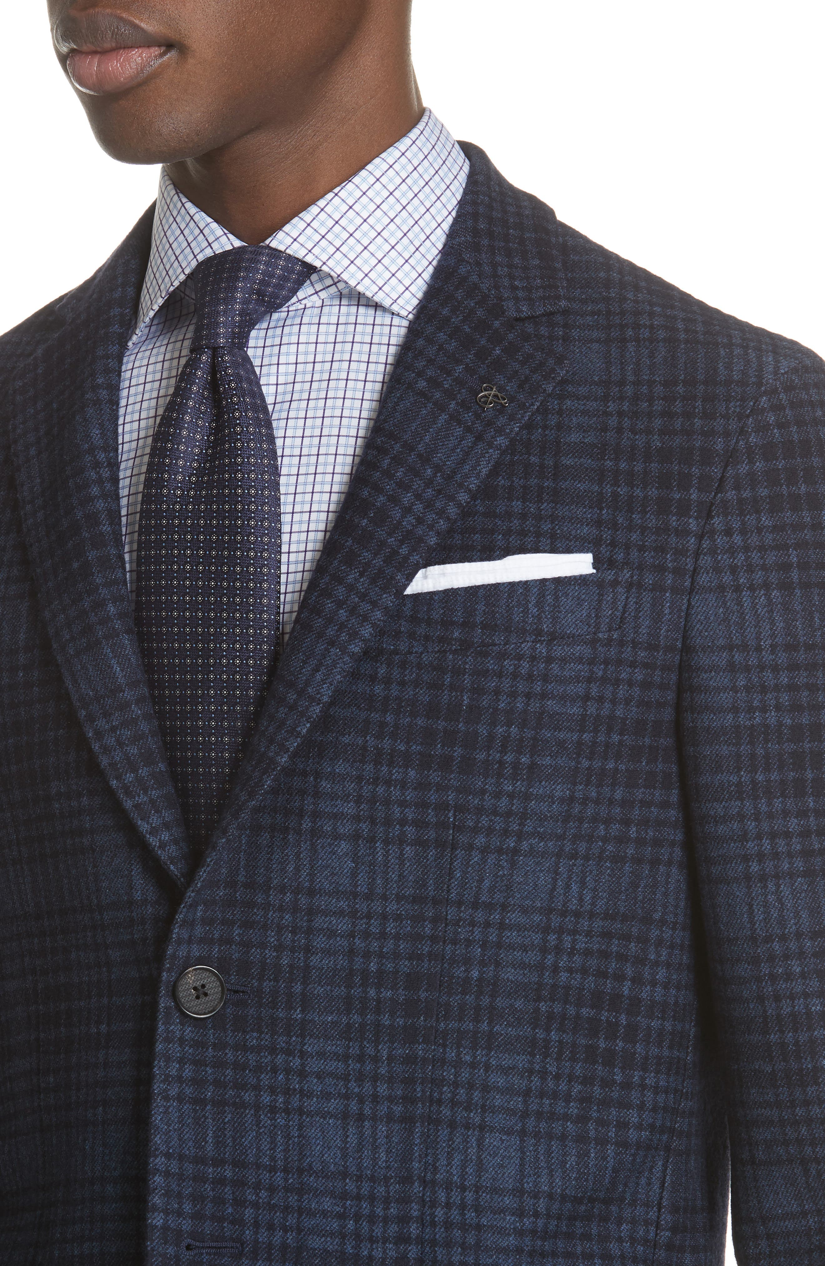 Slim Fit Plaid Wool & Cotton Sport Coat,                             Alternate thumbnail 4, color,                             Blue