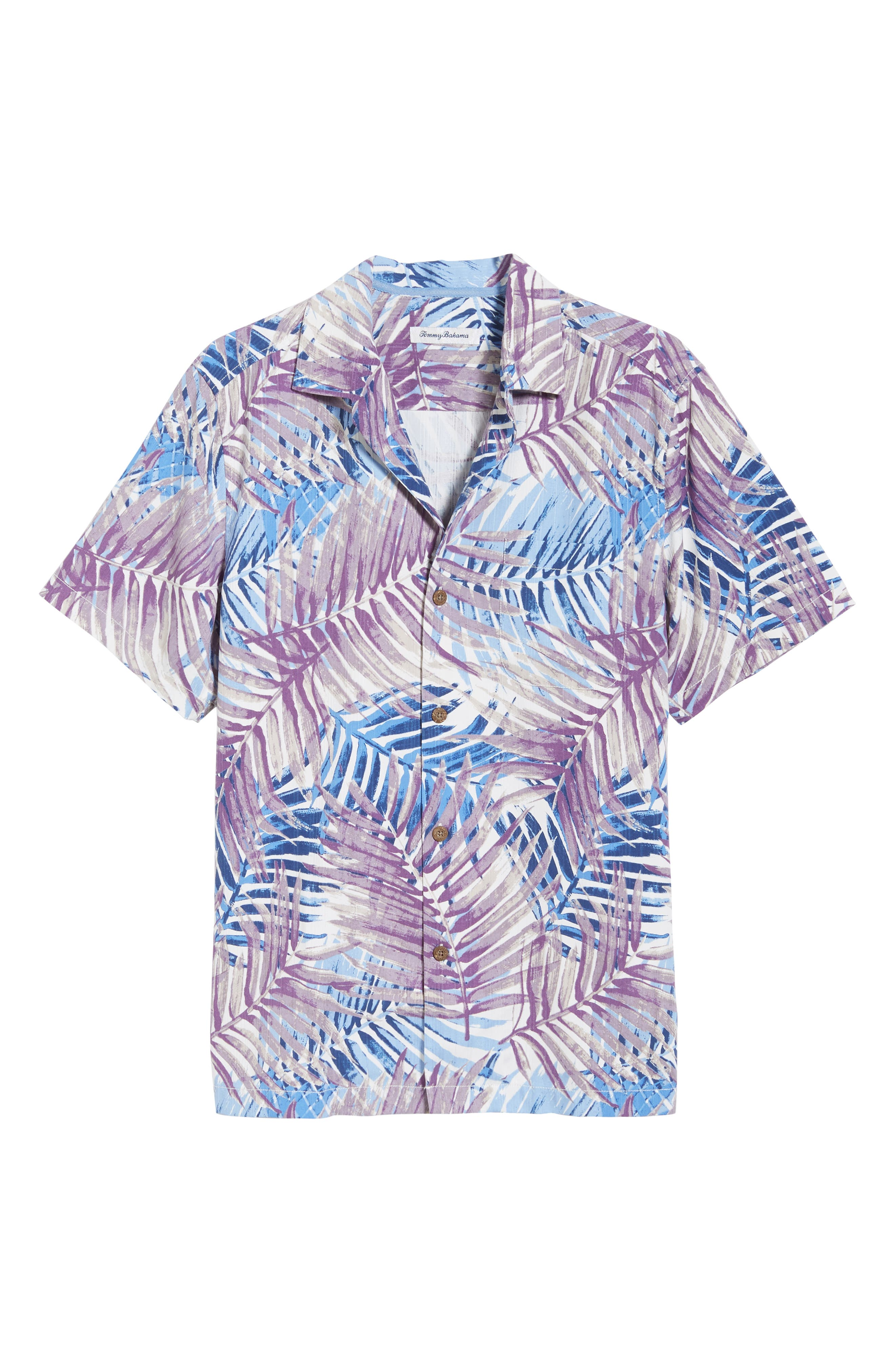 San Juan Fronds Silk Blend Camp Shirt,                             Alternate thumbnail 6, color,                             Light Sky