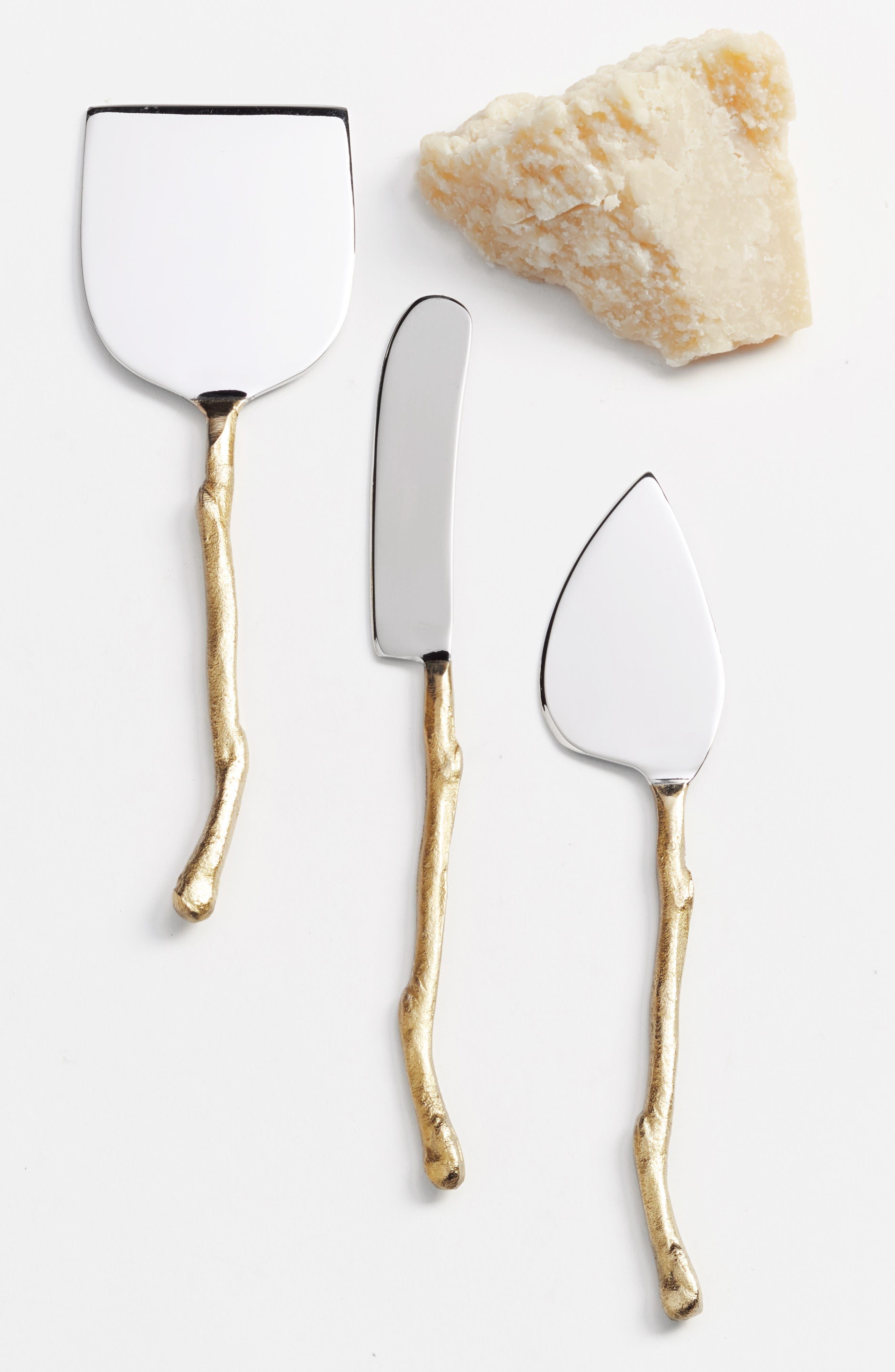 Twig Set of 3 Cheese Knives,                             Main thumbnail 1, color,                             Gold