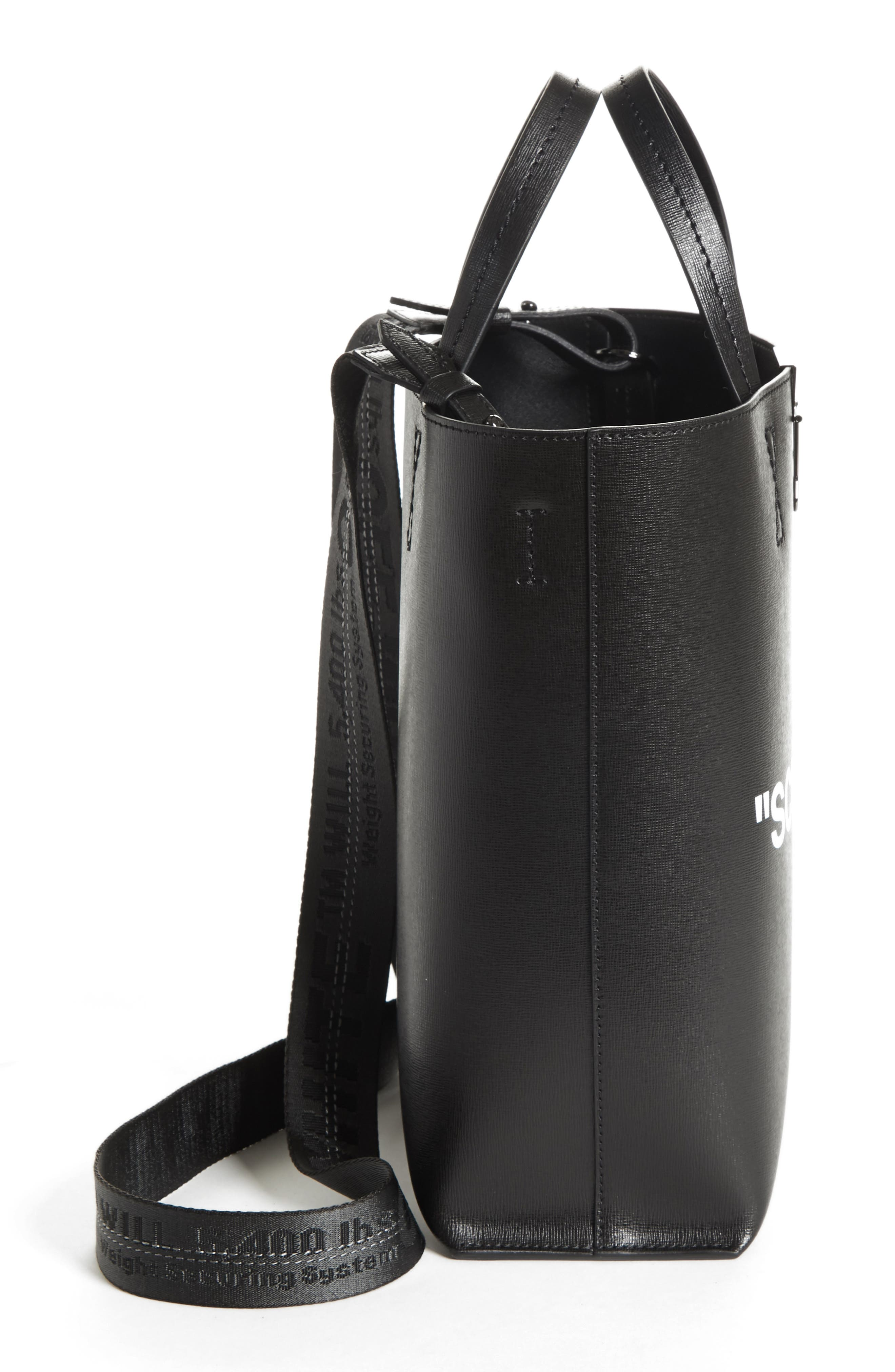 Medium New Sculpture Leather Tote,                             Alternate thumbnail 5, color,                             Black White