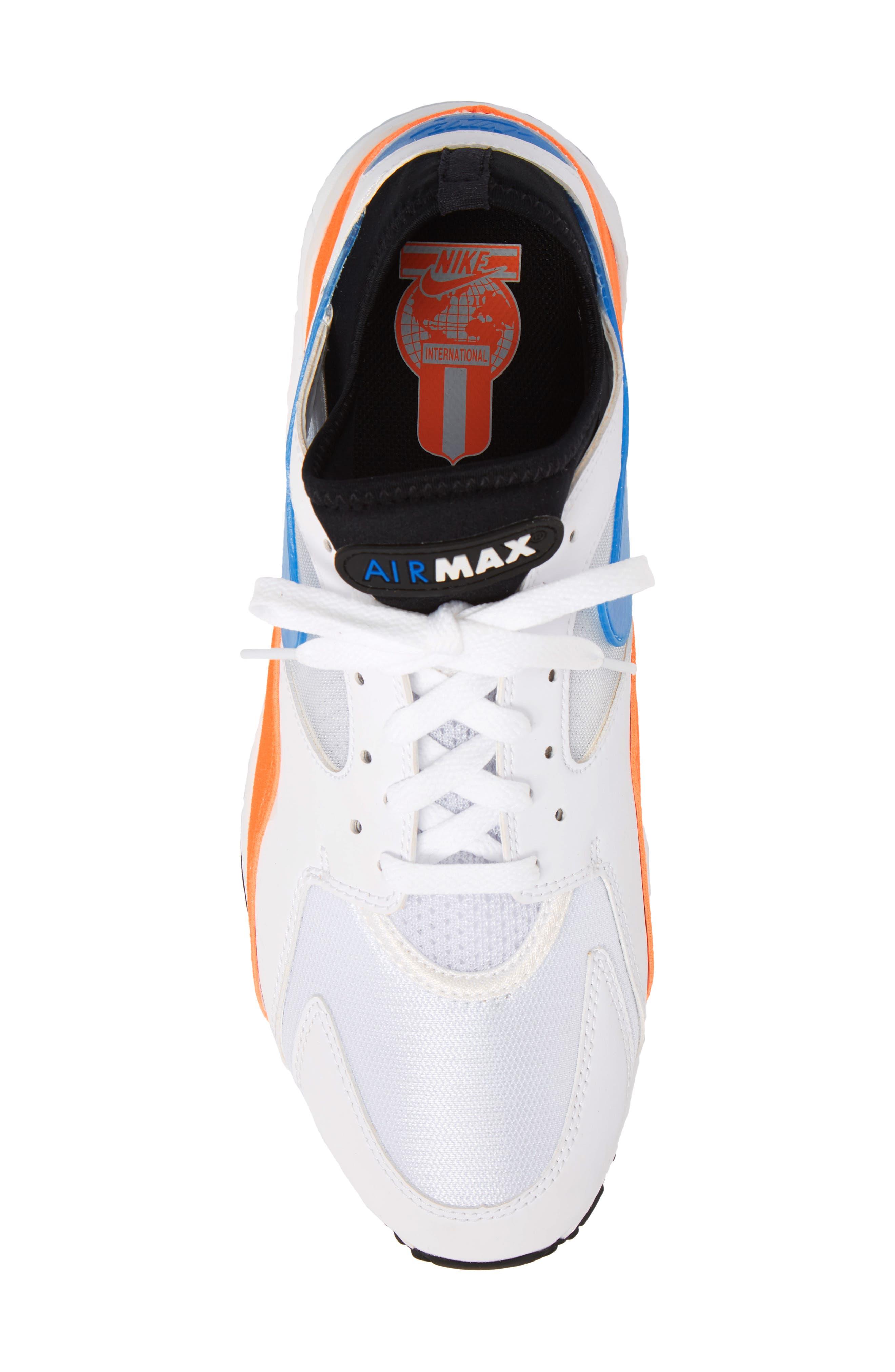 Air Max 93 Sneaker,                             Alternate thumbnail 4, color,                             White/ Blue Nebula/ Orange