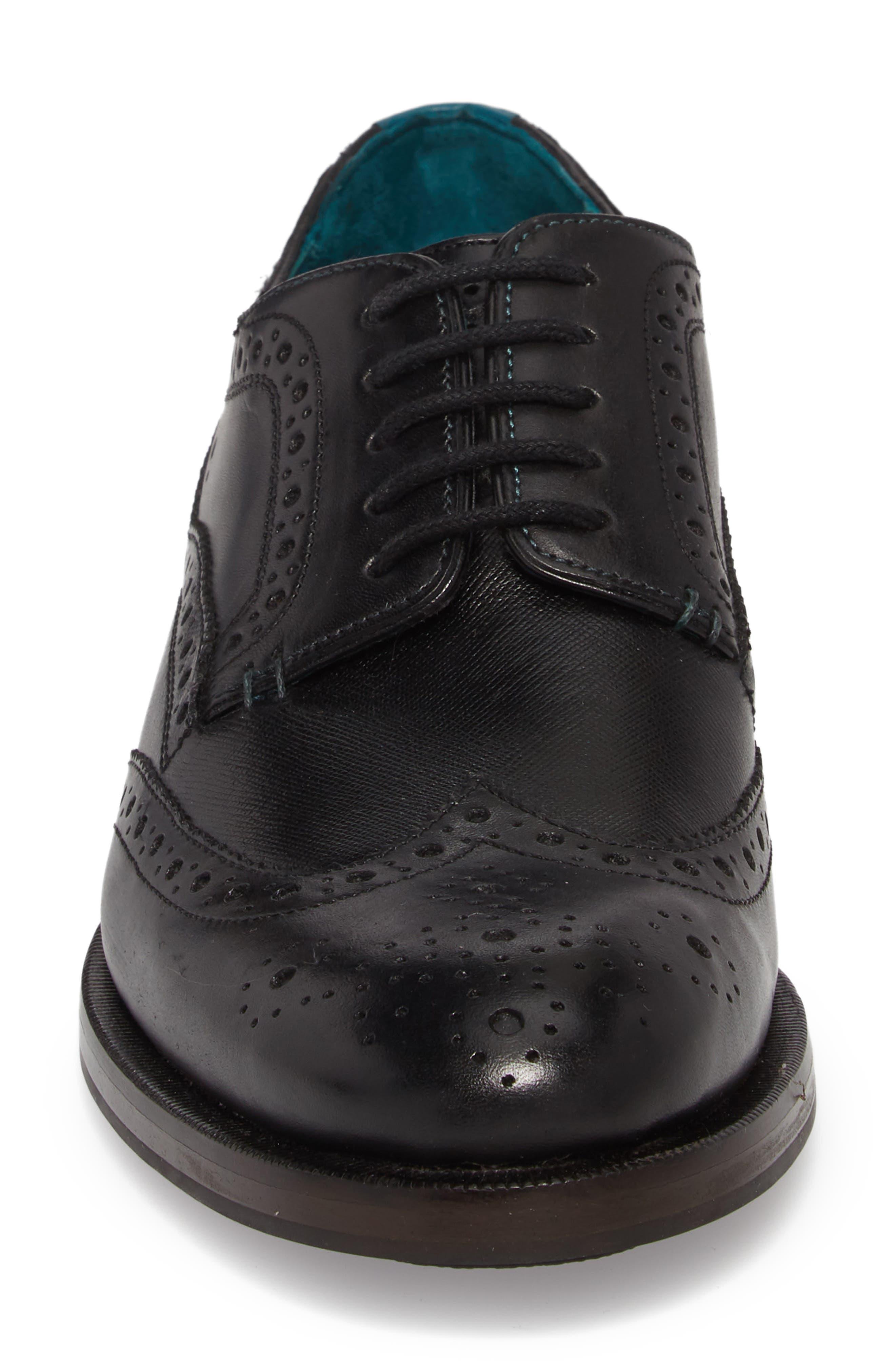 Senape Wingtip,                             Alternate thumbnail 4, color,                             Black Leather