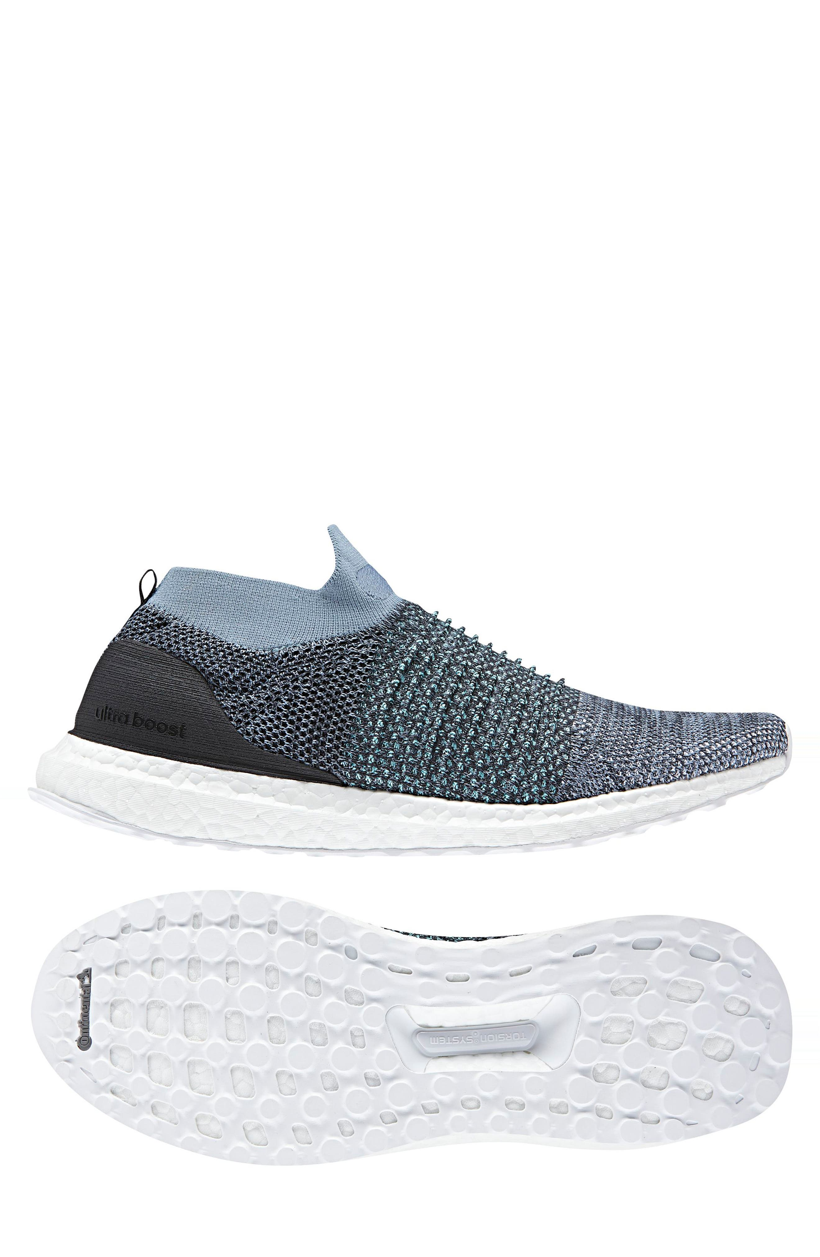 UltraBoost Laceless Running Shoe,                             Alternate thumbnail 2, color,                             Raw Grey/ Carbon/ Blue Spirit