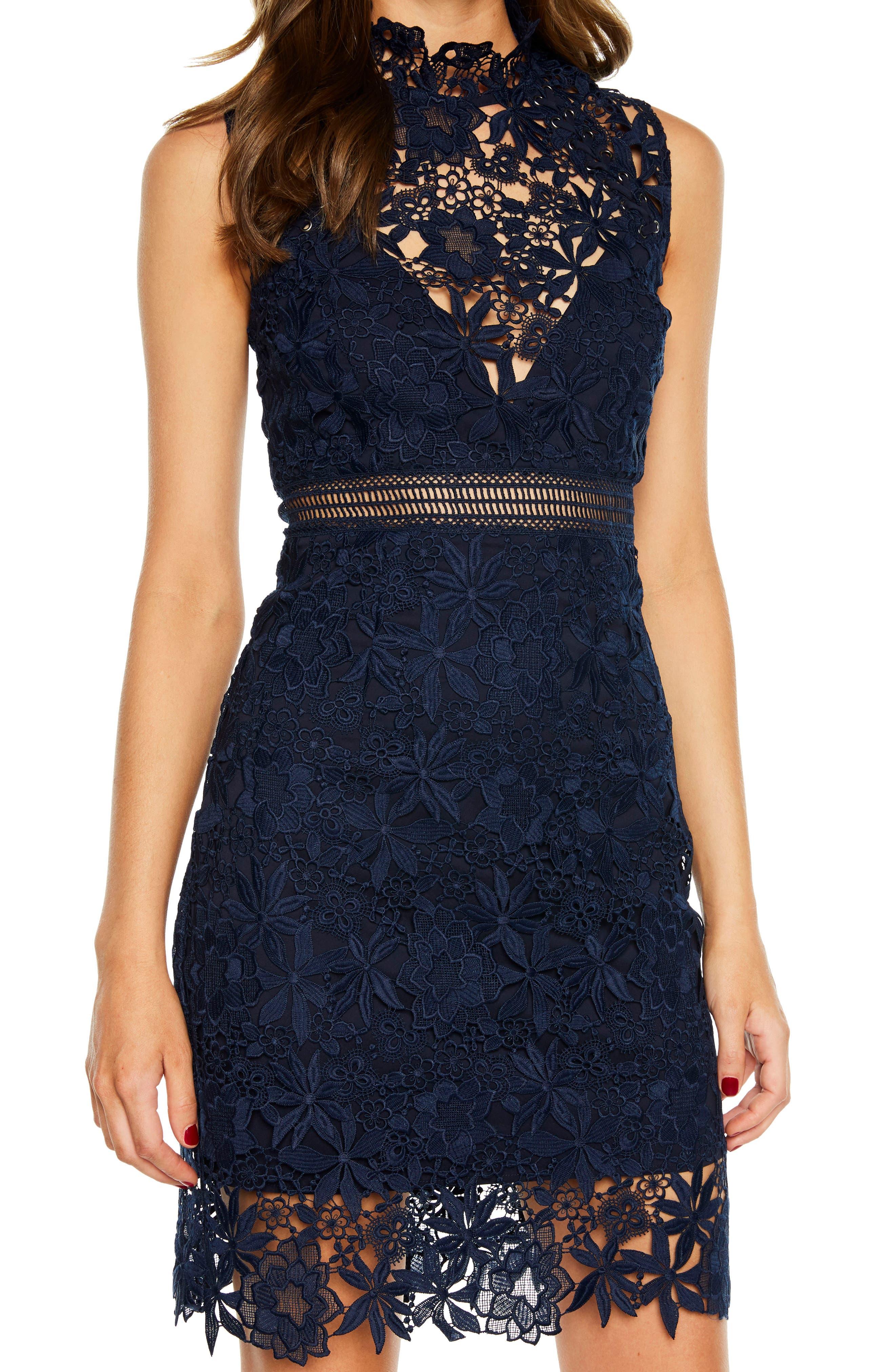 Paris Lace Body-Con Dress,                             Alternate thumbnail 3, color,                             Twilight