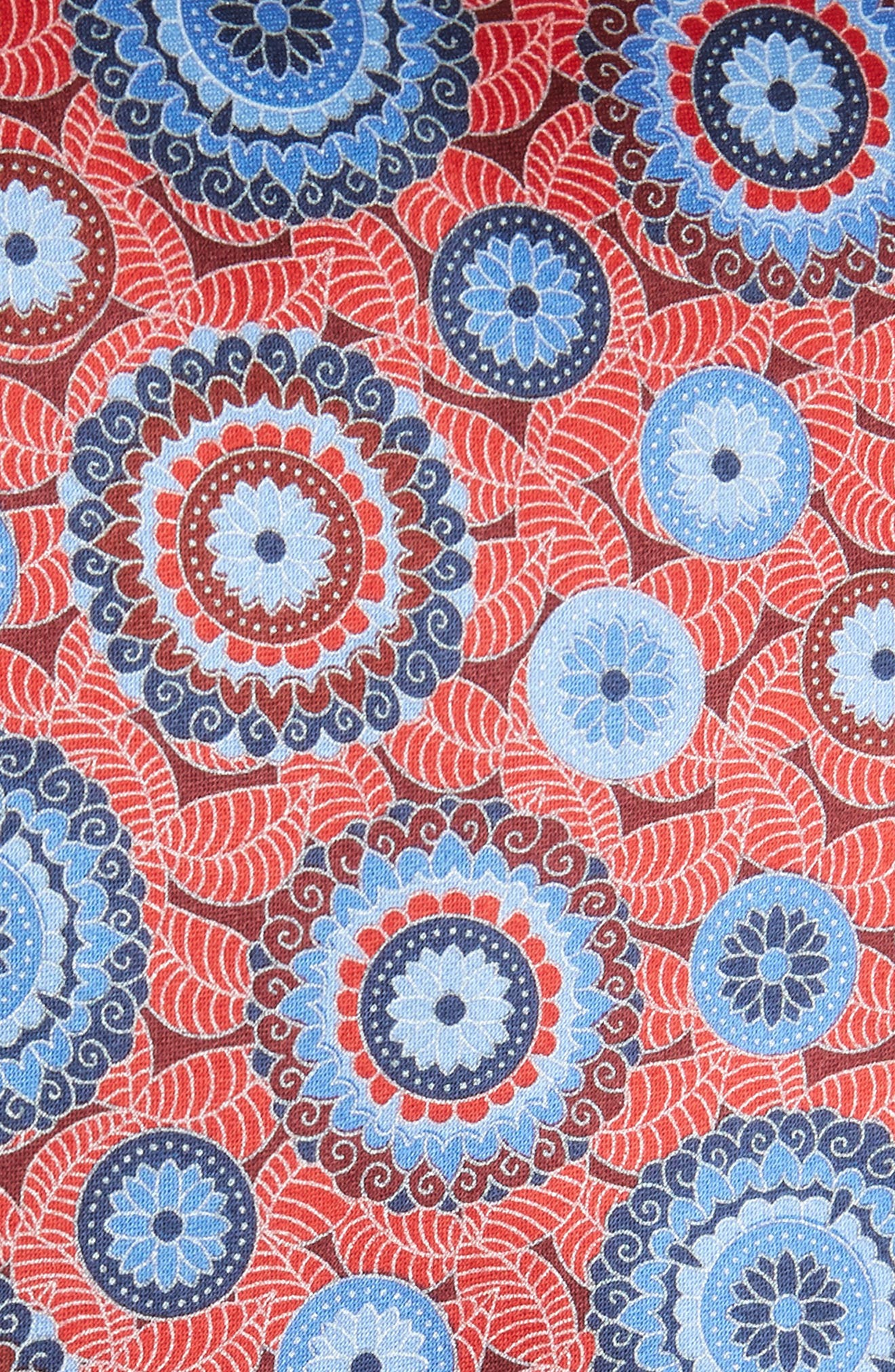 Medallion Silk Tie,                             Alternate thumbnail 2, color,                             Red