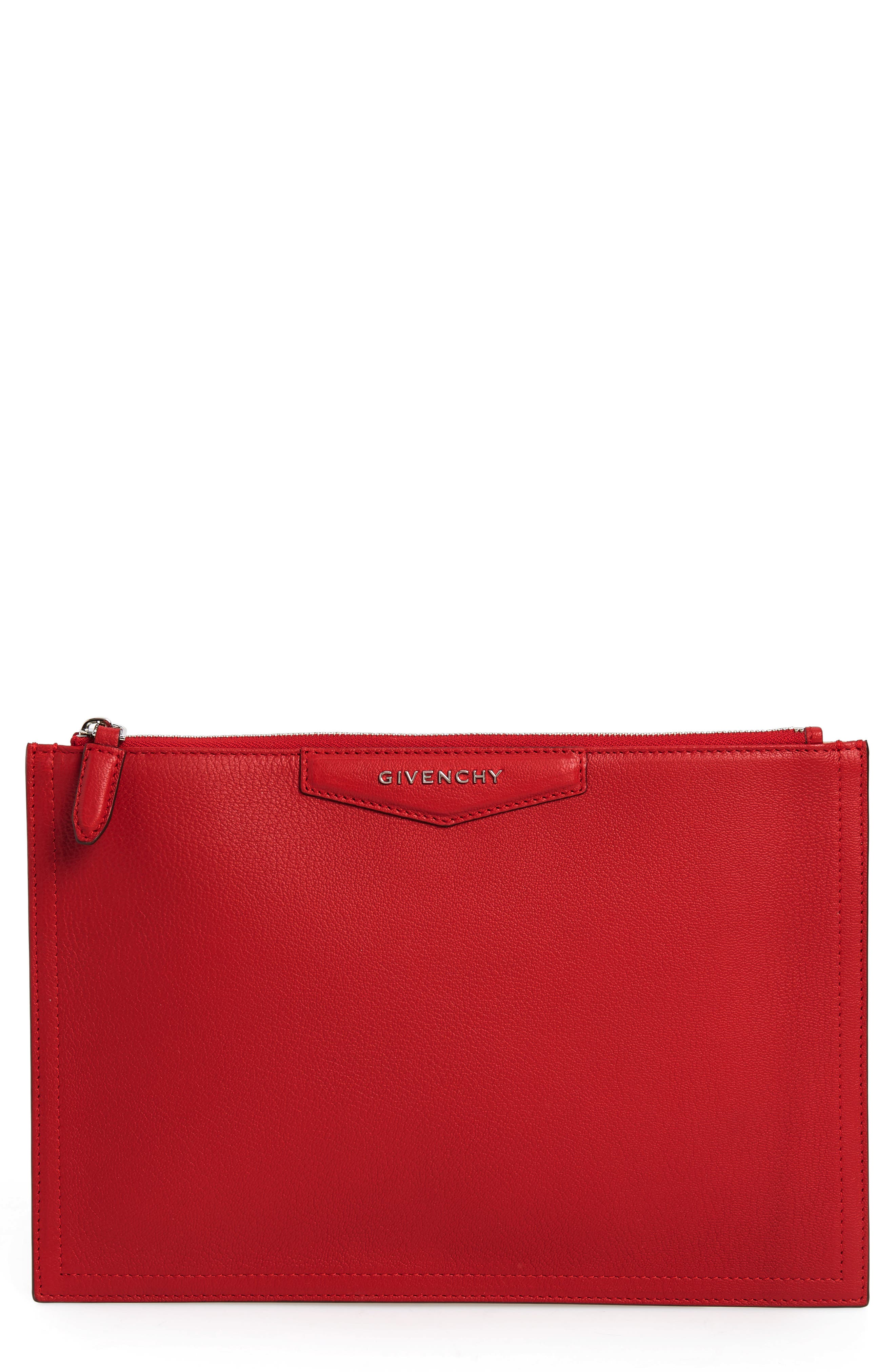 Medium Antigona Leather Pouch,                             Main thumbnail 1, color,                             Bright Red
