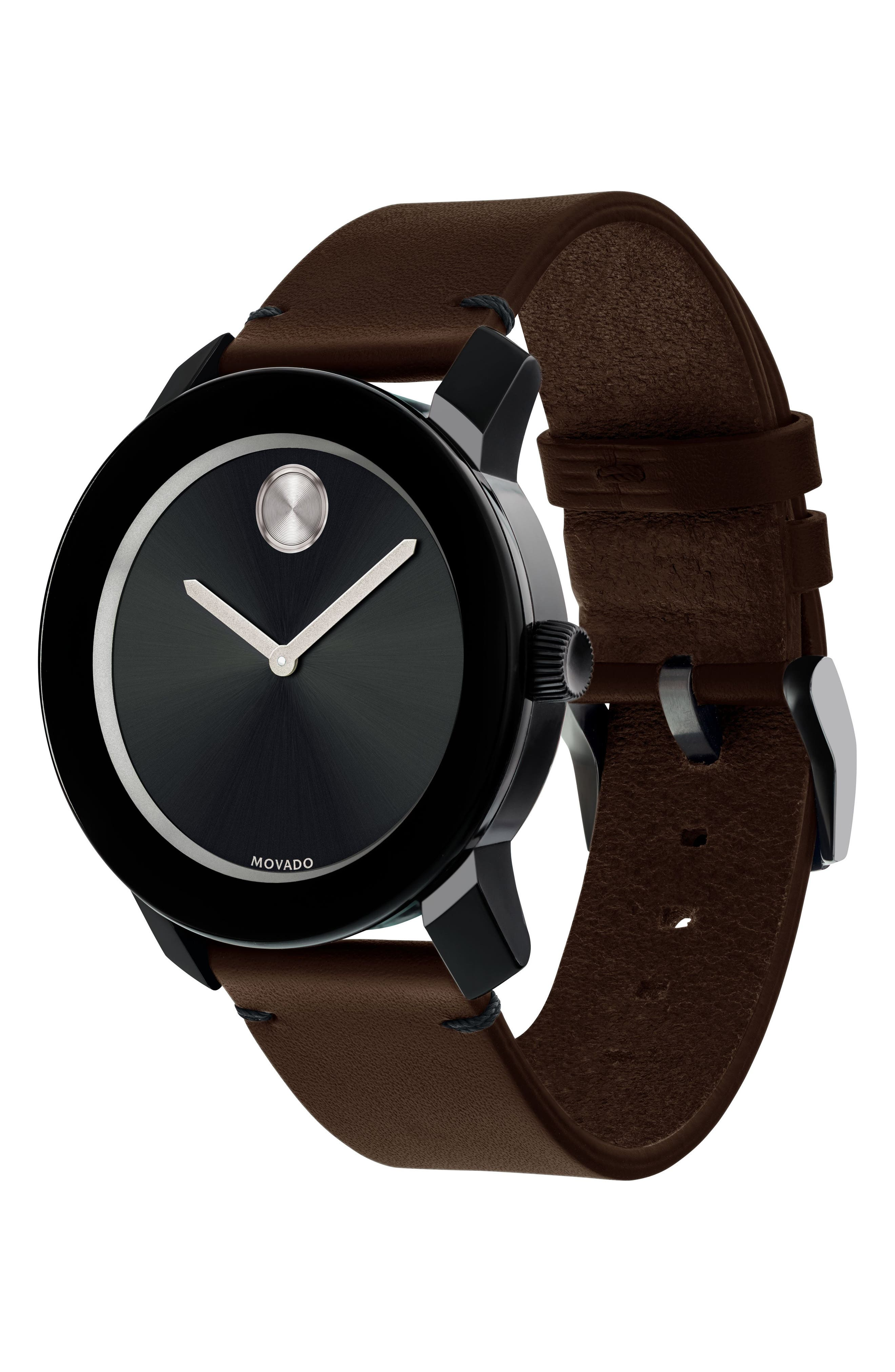 'Bold' Leather Strap Watch, 42mm,                             Alternate thumbnail 3, color,                             Chocolate Brown/ Black