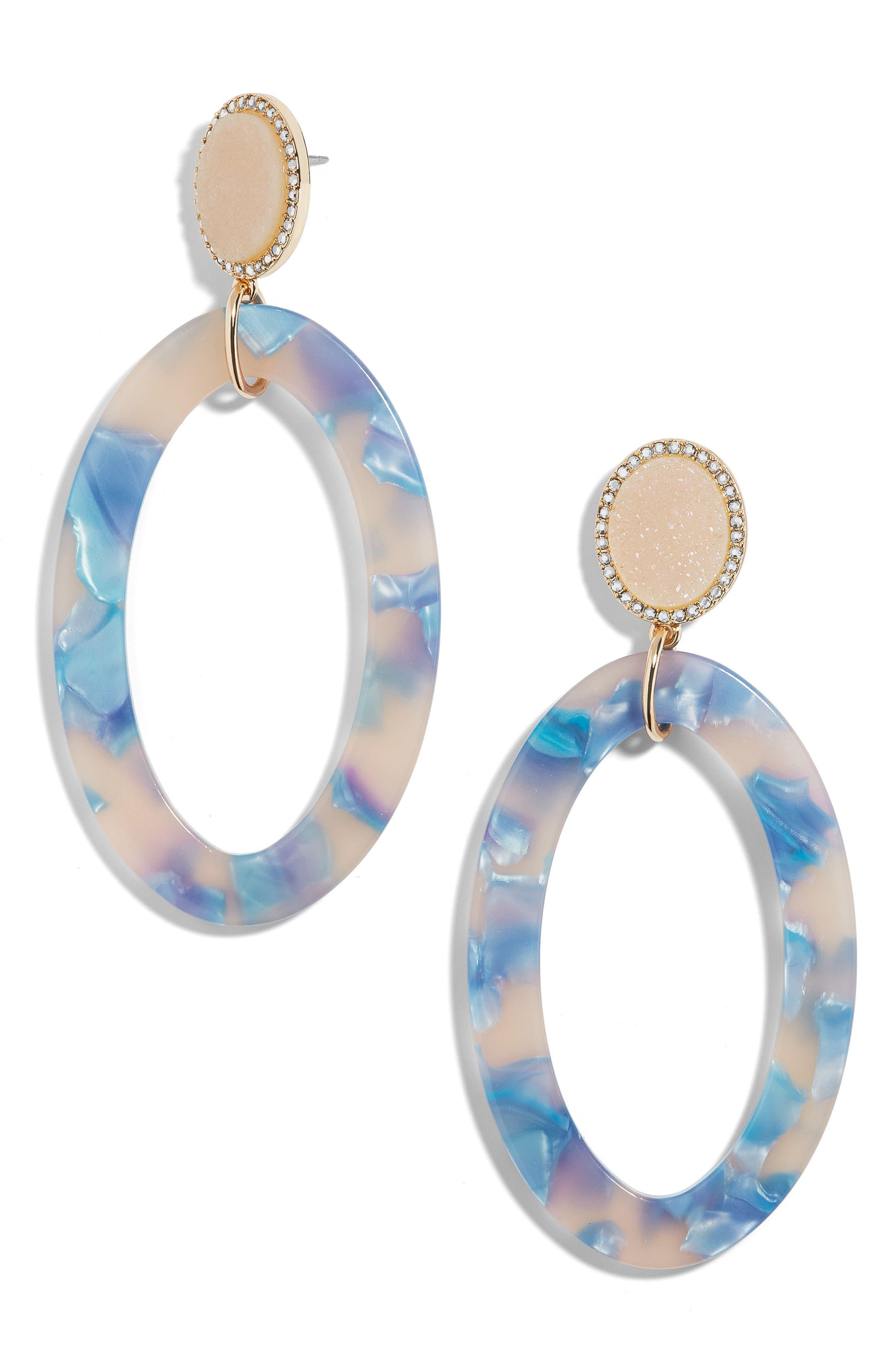 Triana Drusy & Oval Drop Earrings,                             Main thumbnail 1, color,                             Cream