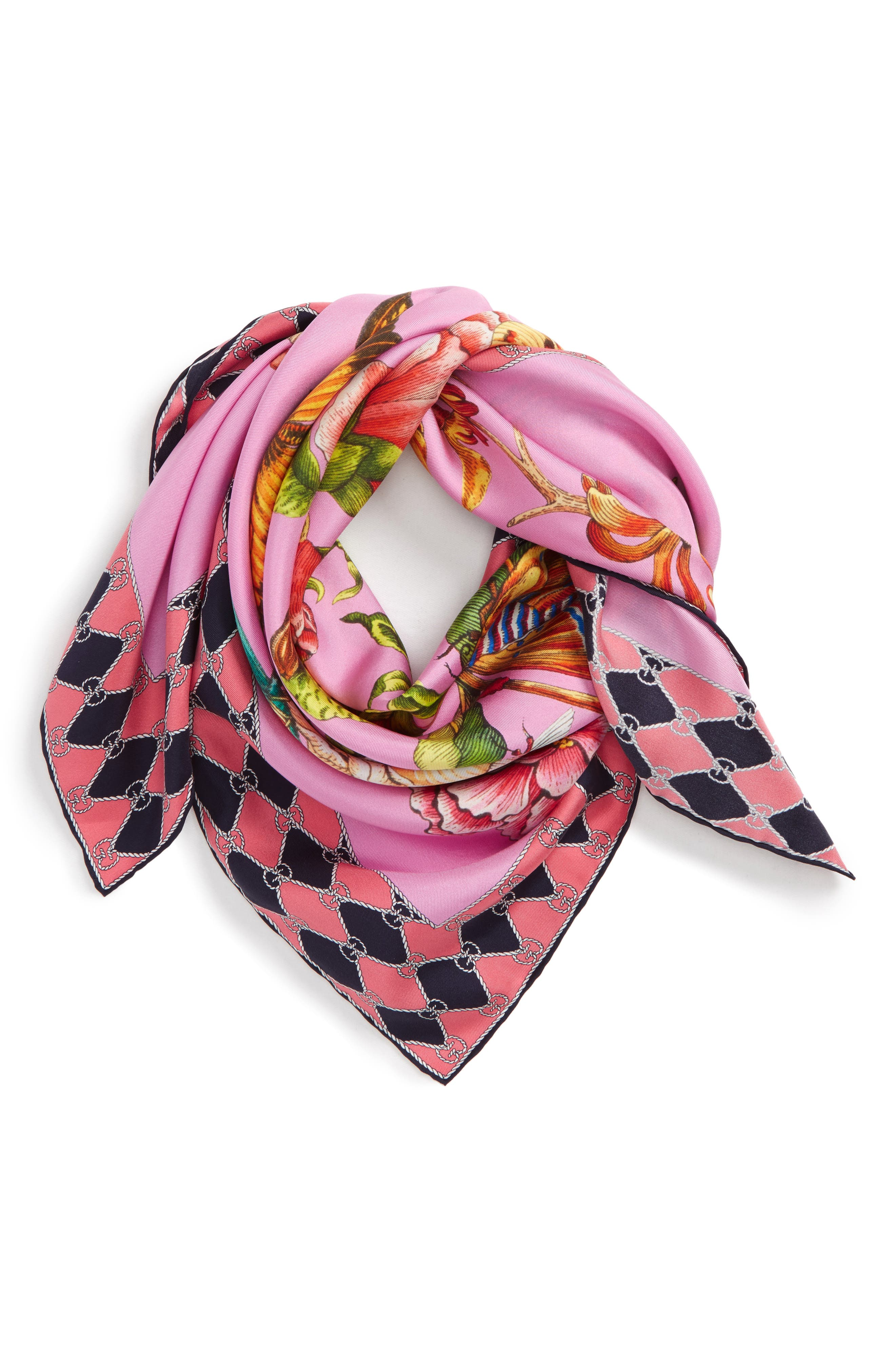Foulard Chane Bouquet Silk Scarf,                             Alternate thumbnail 3, color,                             Pink