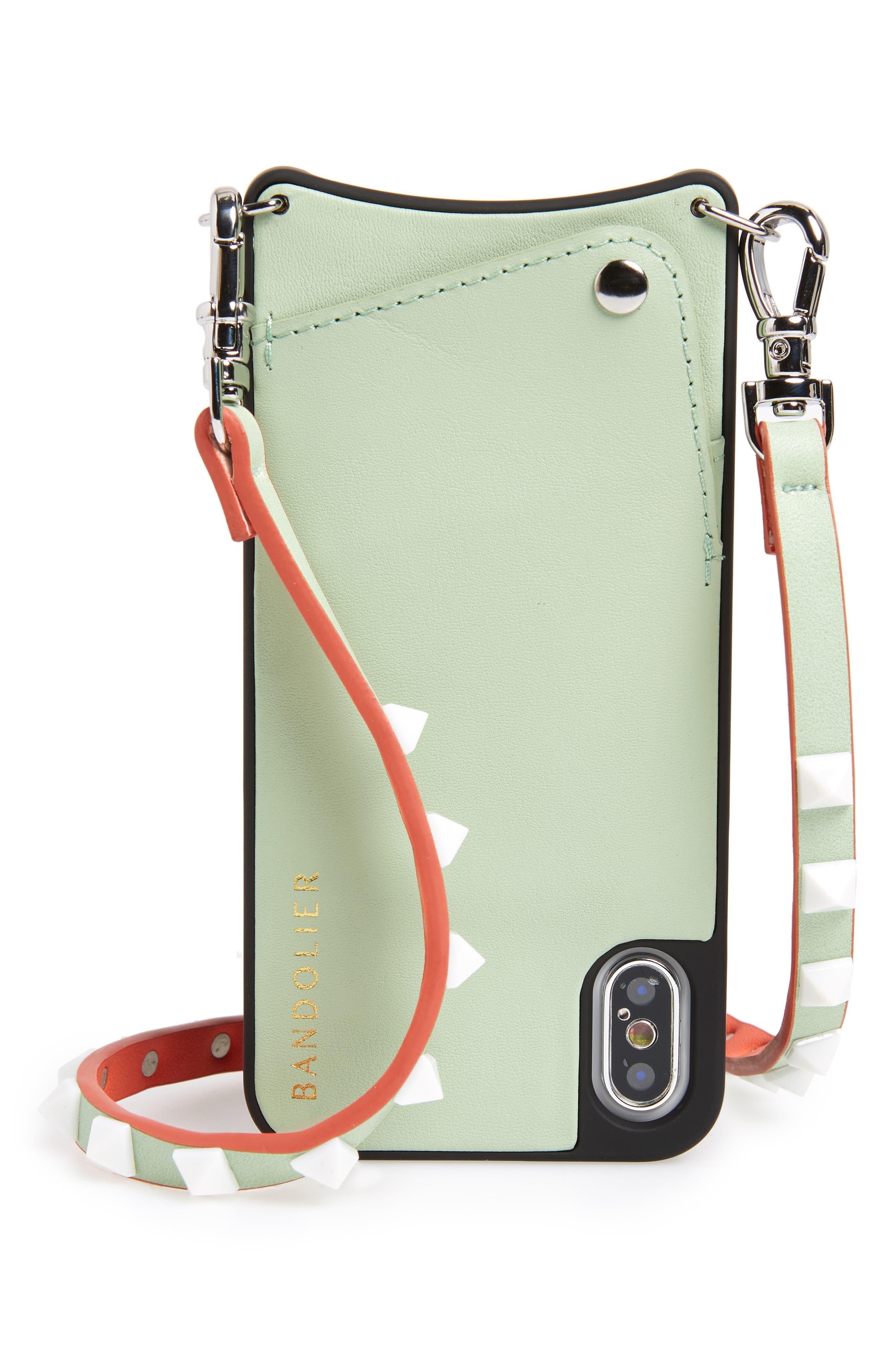 Sarah iPhone X Crossbody Case,                             Main thumbnail 1, color,                             Mint/ Silver