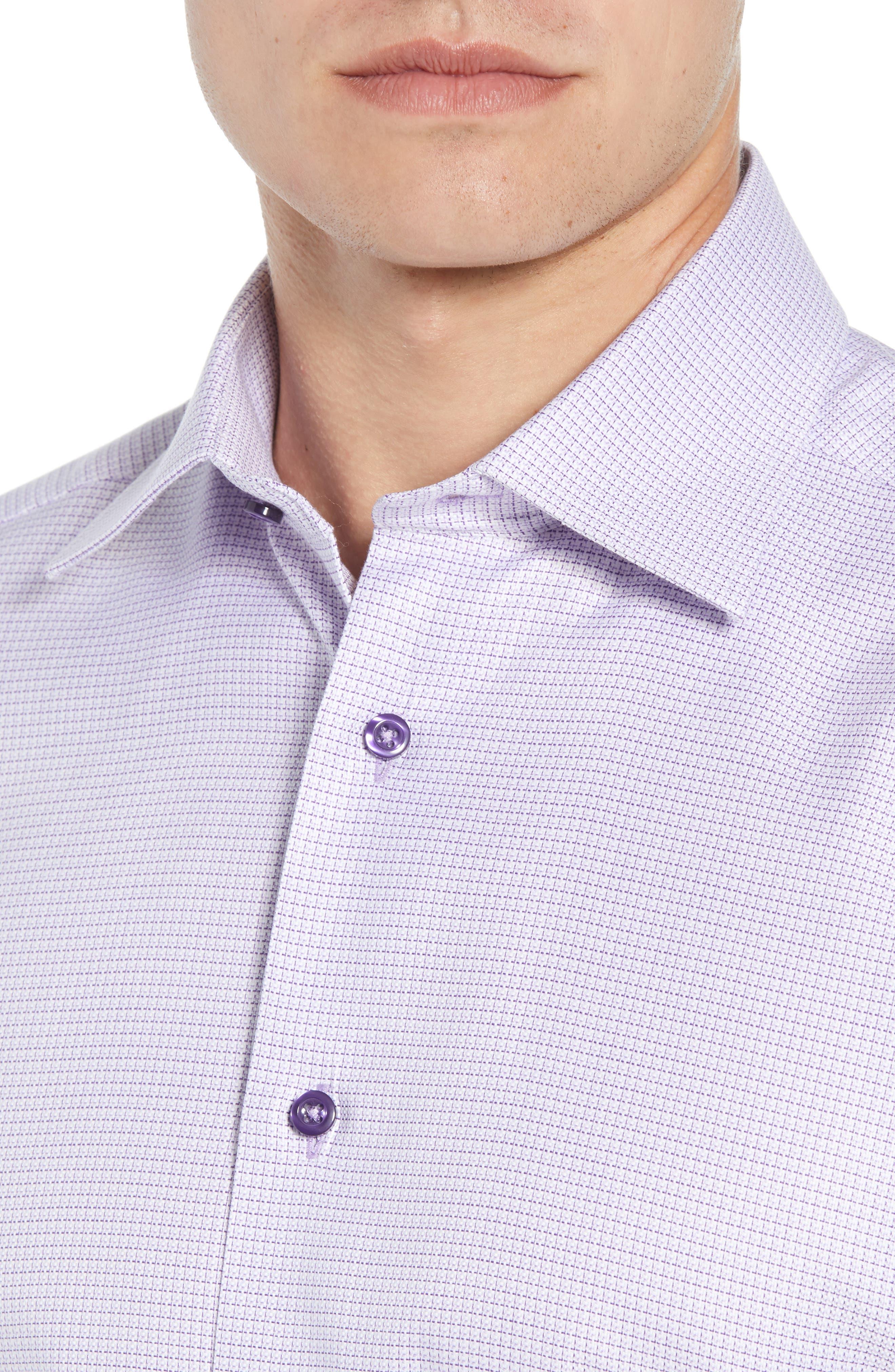 Regular Fit Check Dress Shirt,                             Alternate thumbnail 2, color,                             Lilac