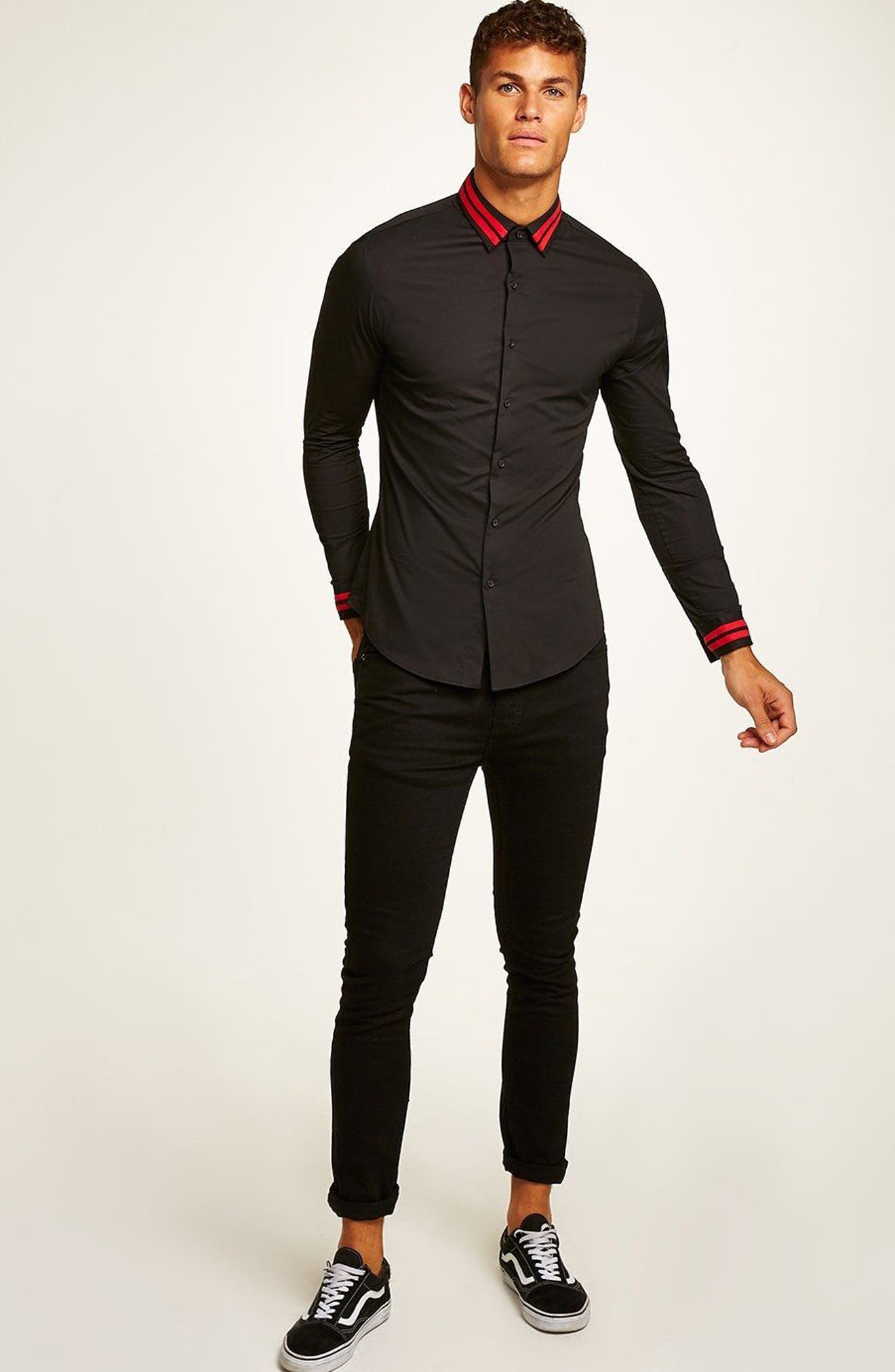 Muscle Fit Stripe Collar Shirt,                             Alternate thumbnail 5, color,                             Black Multi