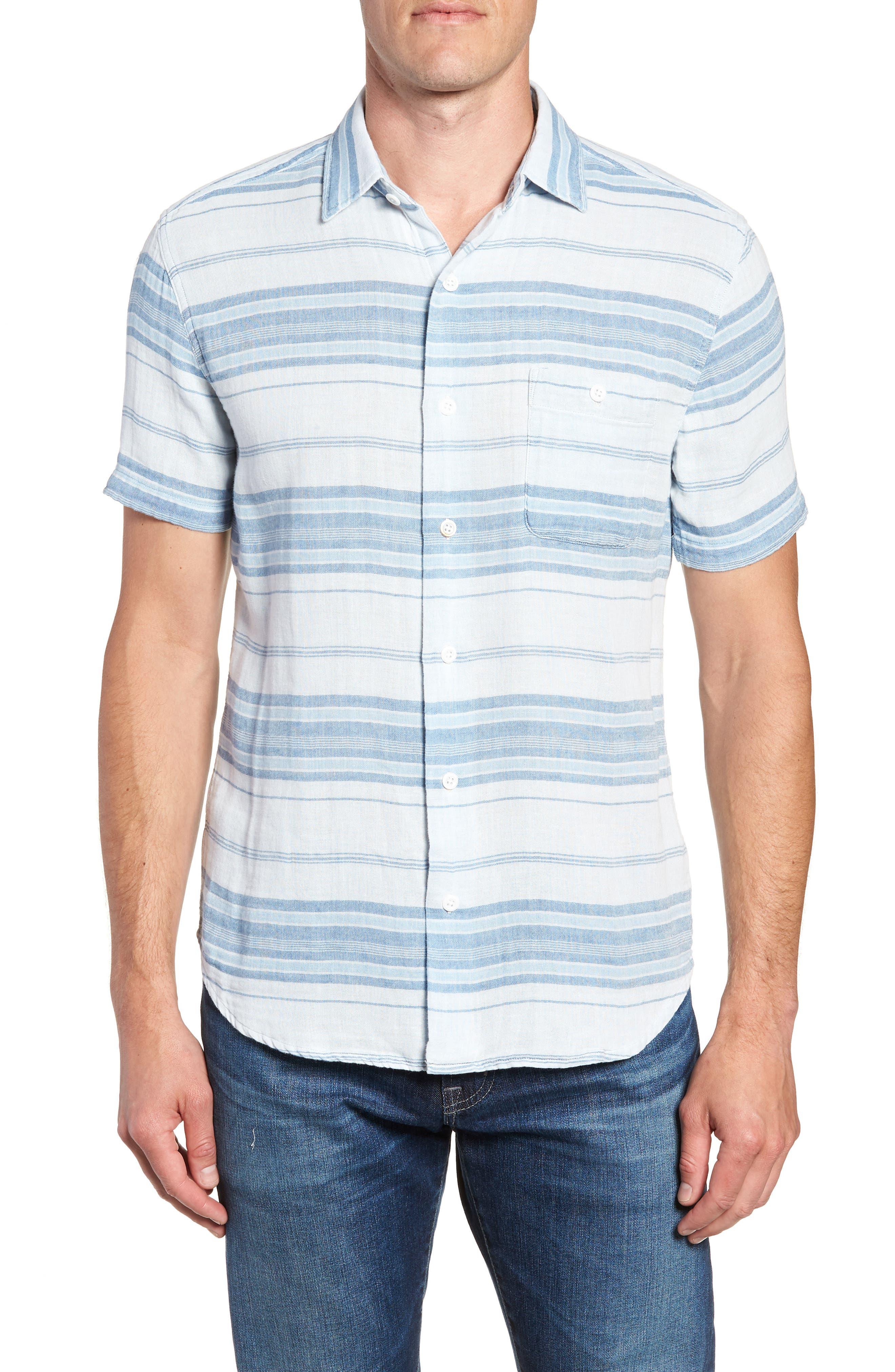 Ventura Double Cloth Short Sleeve Shirt,                         Main,                         color, Light Indigo Serape