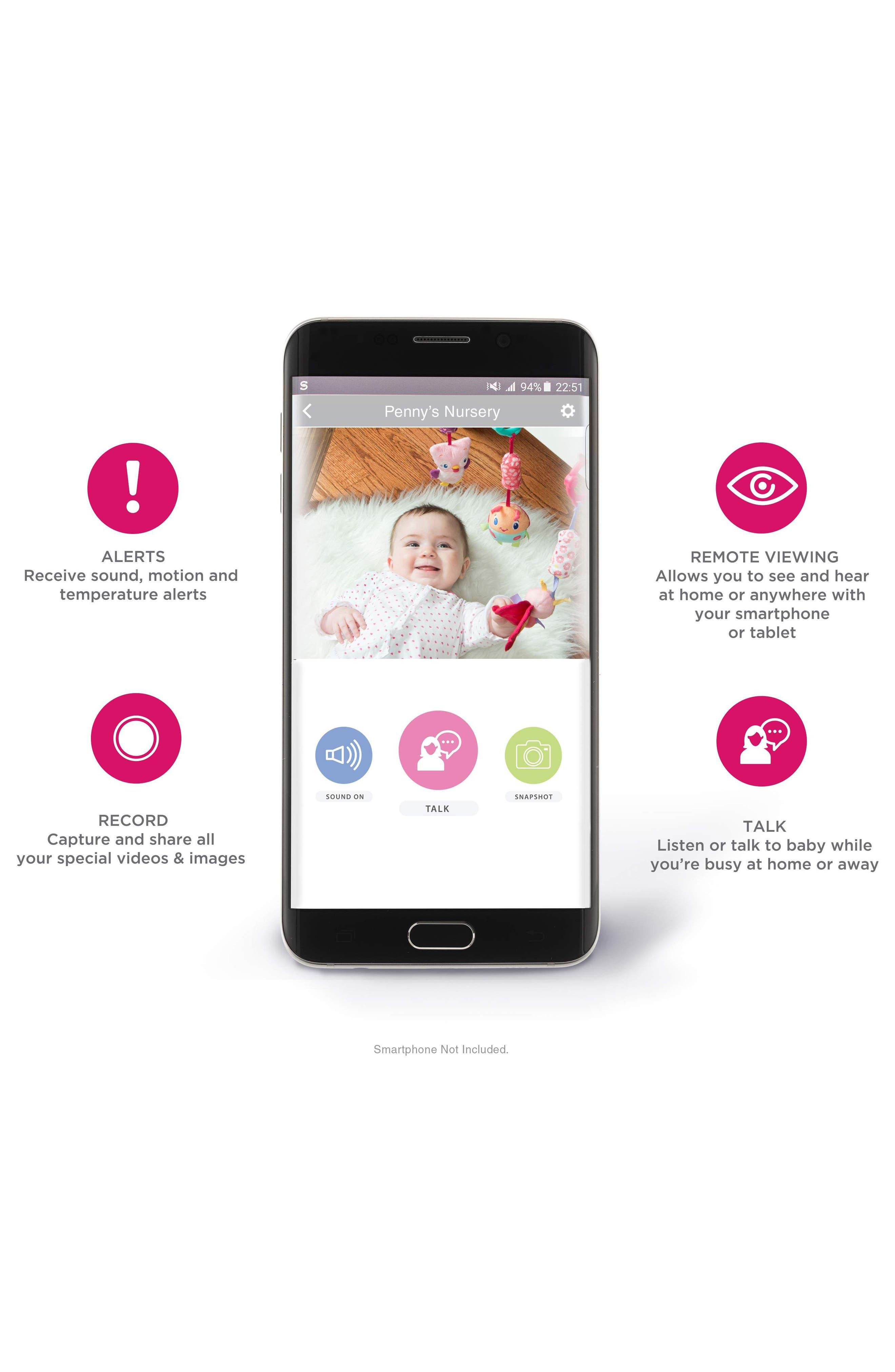 Smart Nursery Wi-Fi Baby Monitor,                             Alternate thumbnail 6, color,                             White