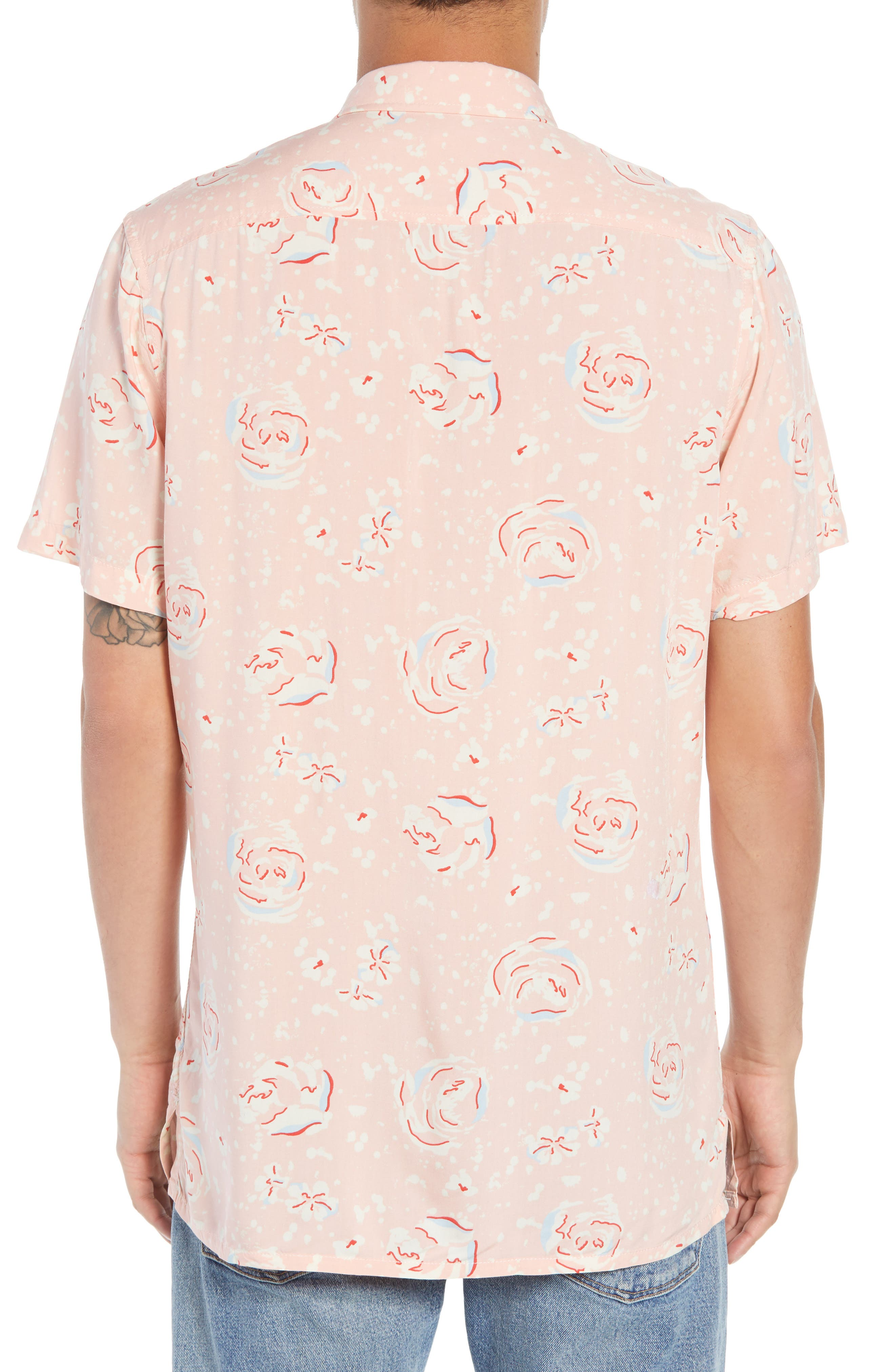 Print Woven Shirt,                             Alternate thumbnail 5, color,                             Pink Silver Abstract Floral