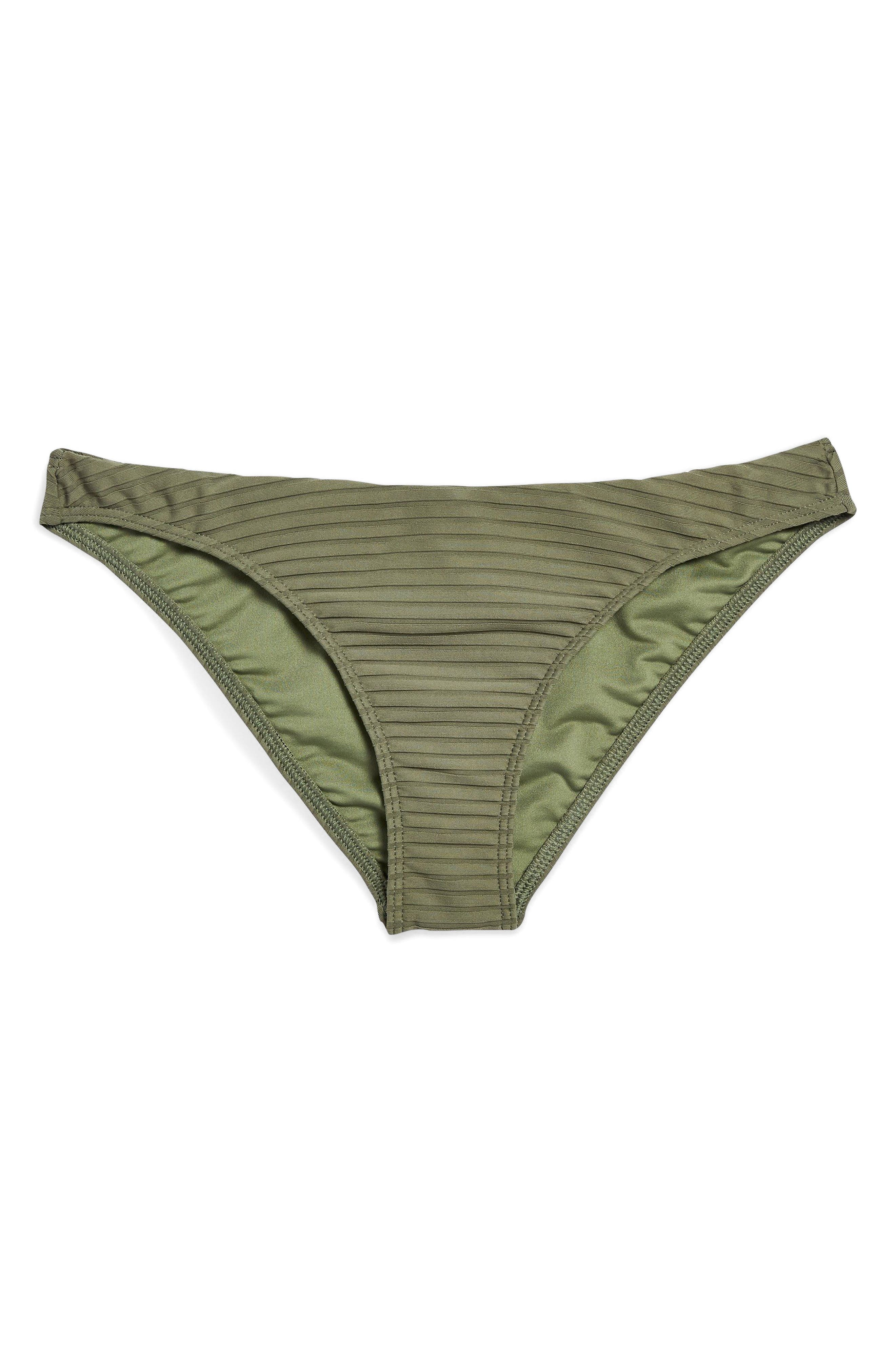 Wide Ribbed High Leg Bikini Bottoms,                         Main,                         color, Olive