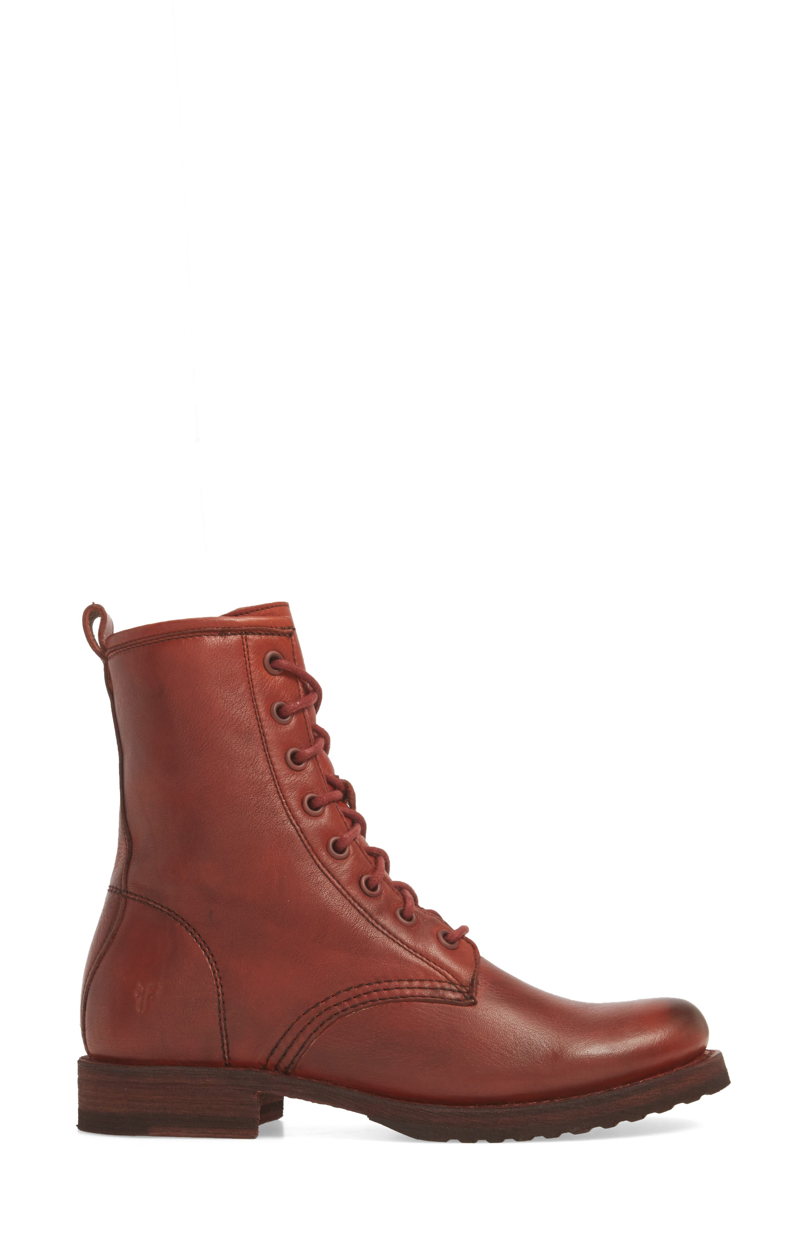 'Veronica Combat' Boot,                             Alternate thumbnail 4, color,                             Red Clay Leather
