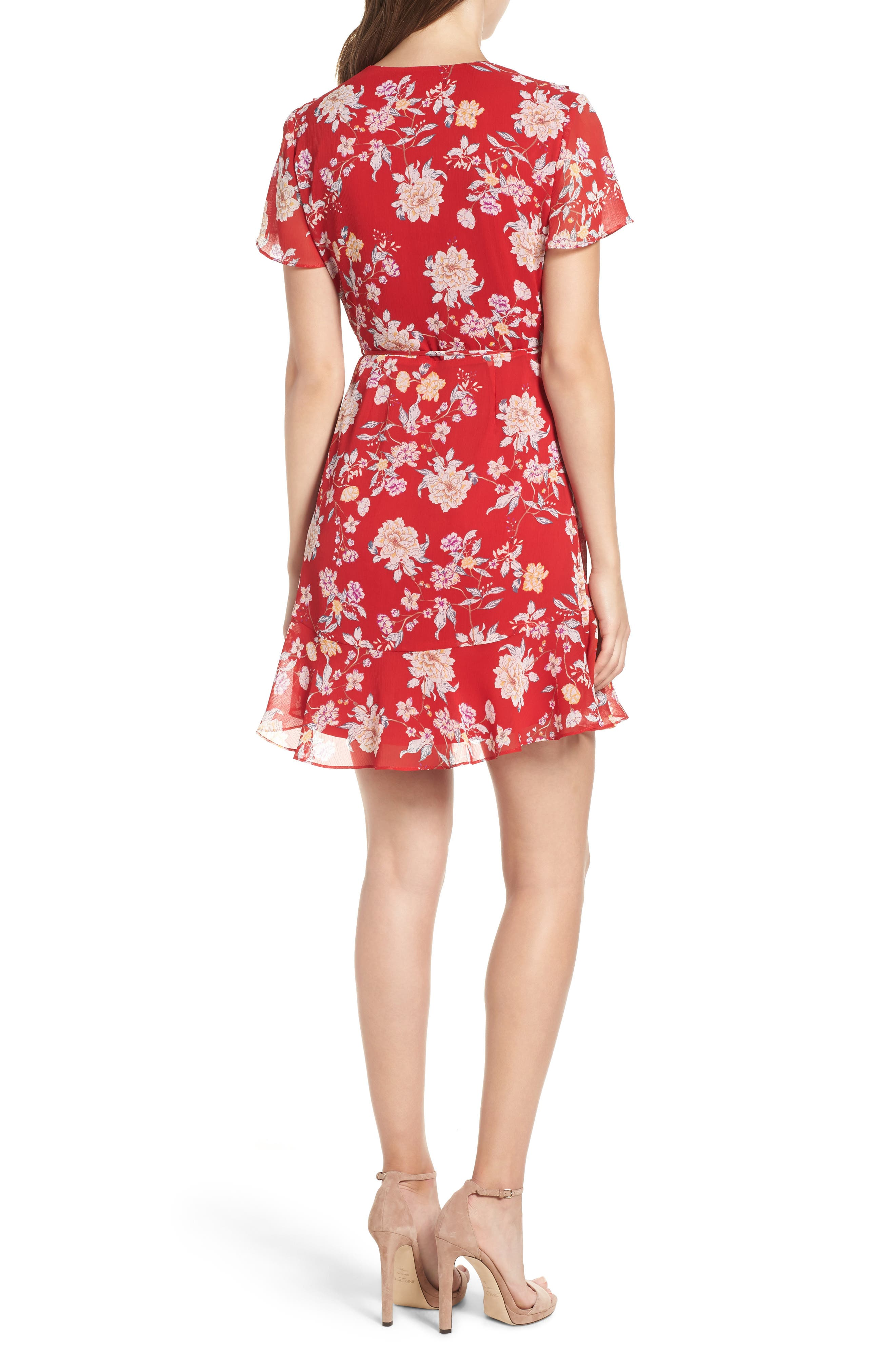 Colie Ruffle Wrap Dress,                             Alternate thumbnail 2, color,                             Red Floral