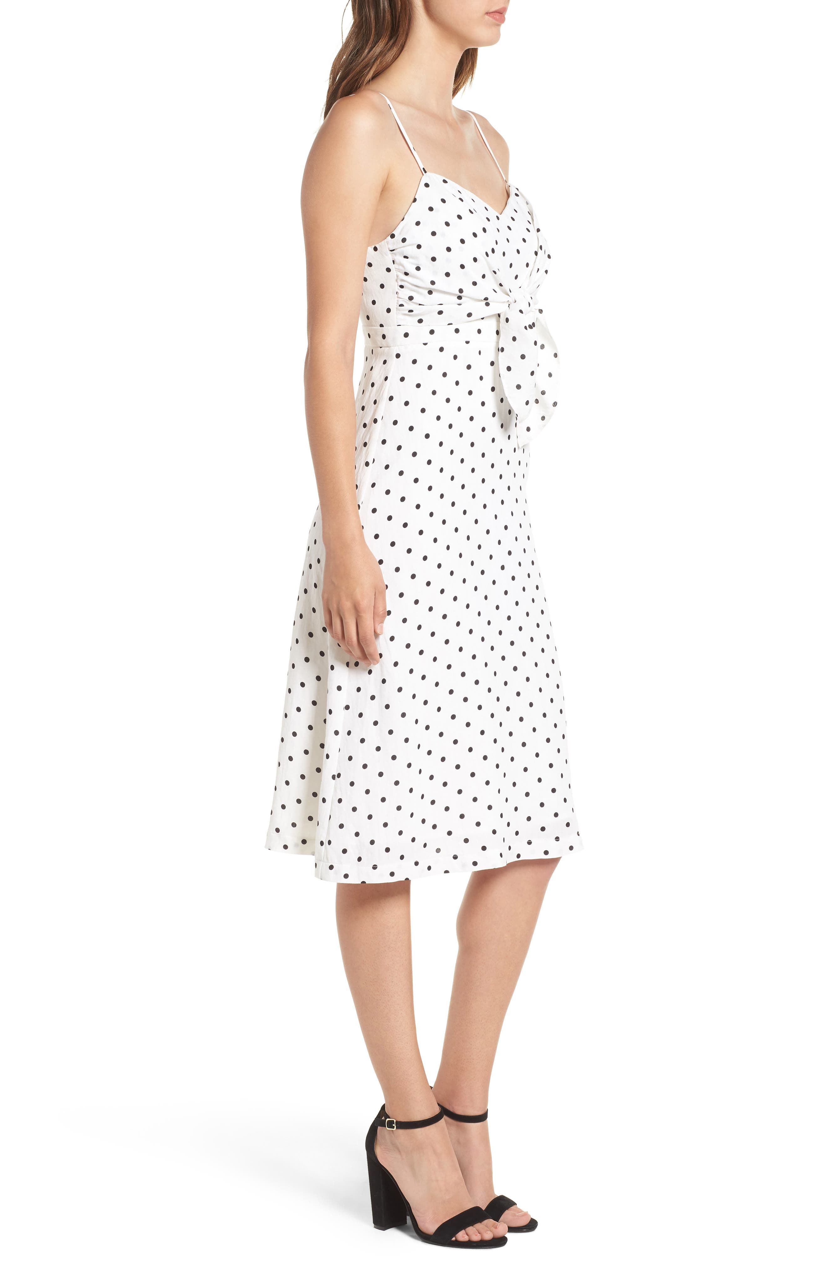 Stripe Tie Front Midi Dress,                             Alternate thumbnail 3, color,                             White Polka Dot