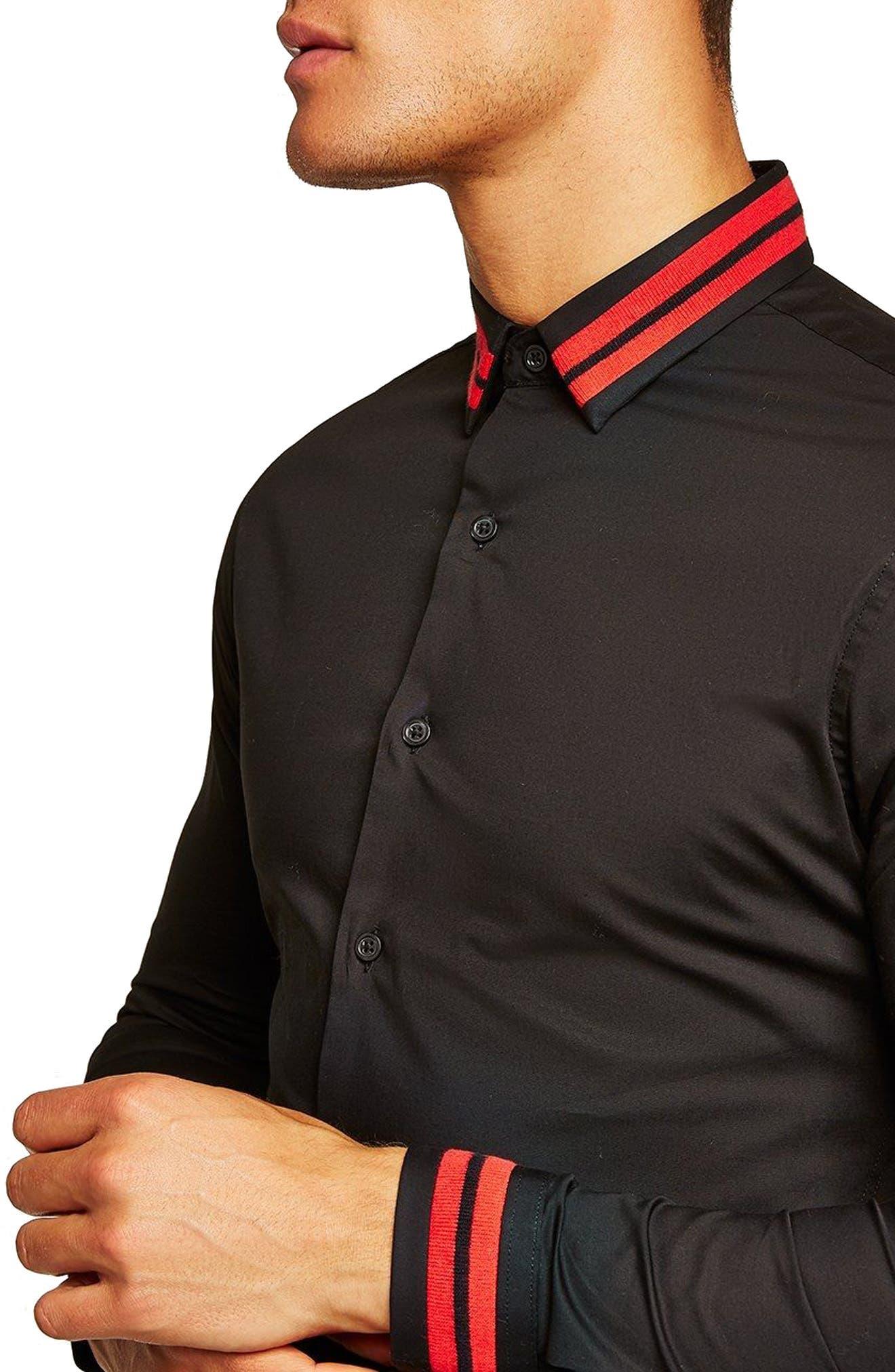 Muscle Fit Stripe Collar Shirt,                             Alternate thumbnail 3, color,                             Black Multi