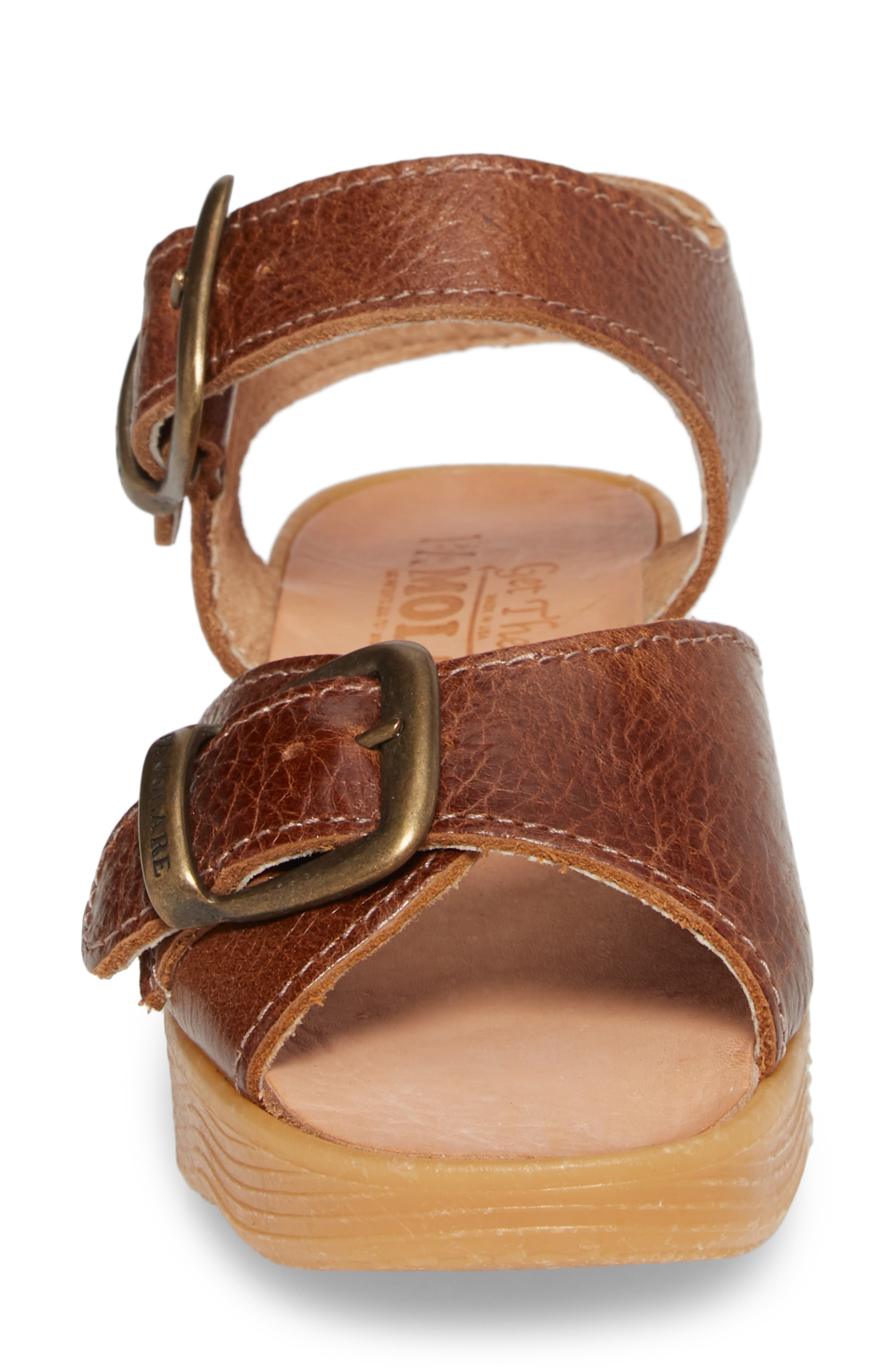 Double Play Platform Sandal,                             Alternate thumbnail 5, color,                             Earth Leather