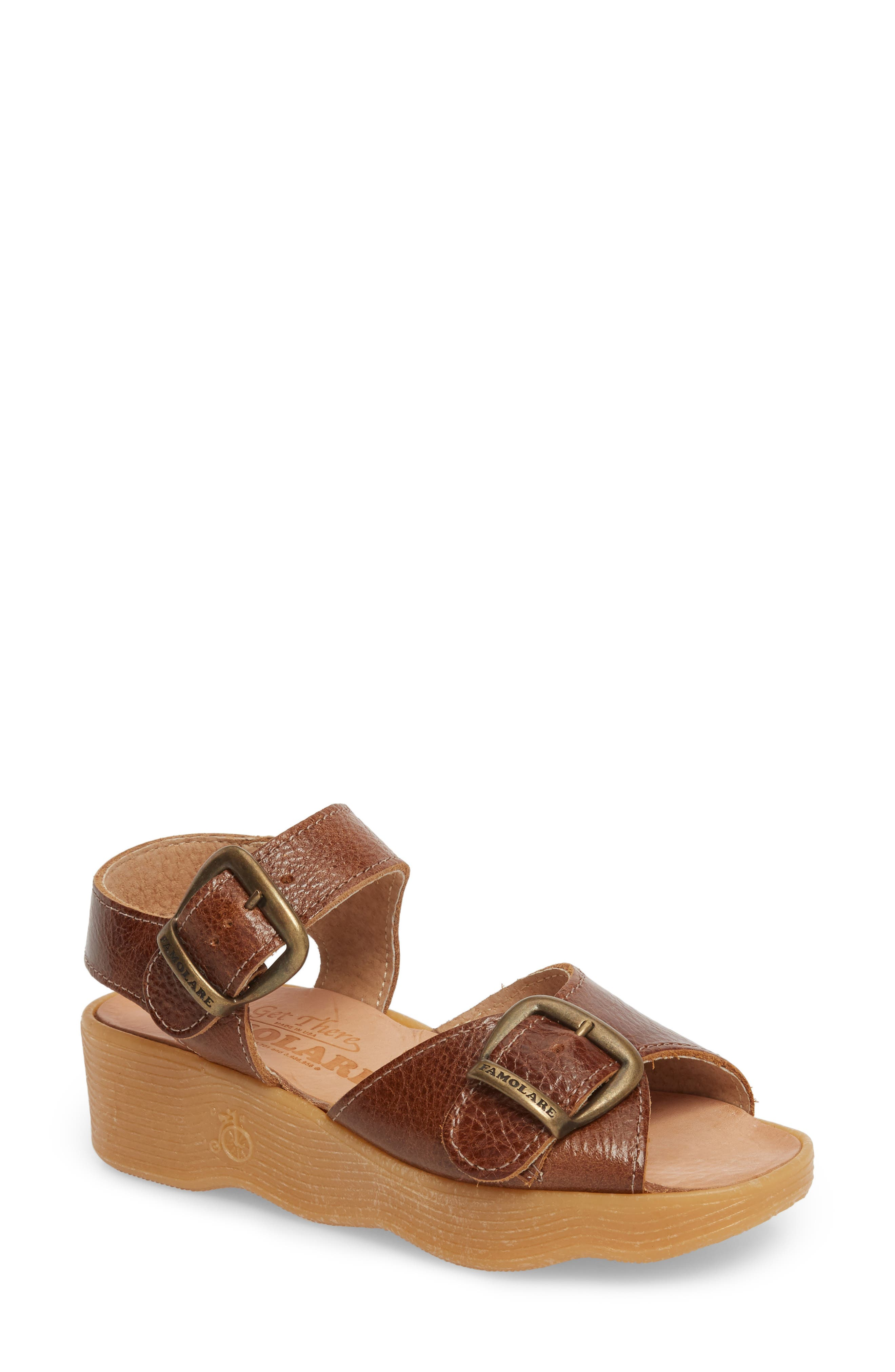Double Play Platform Sandal,                             Main thumbnail 1, color,                             Earth Leather