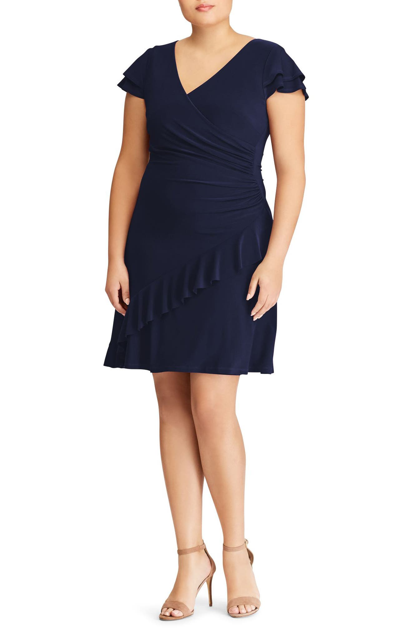 Hartley Ruffle Fit & Flare Dress, Lighthouse Navy