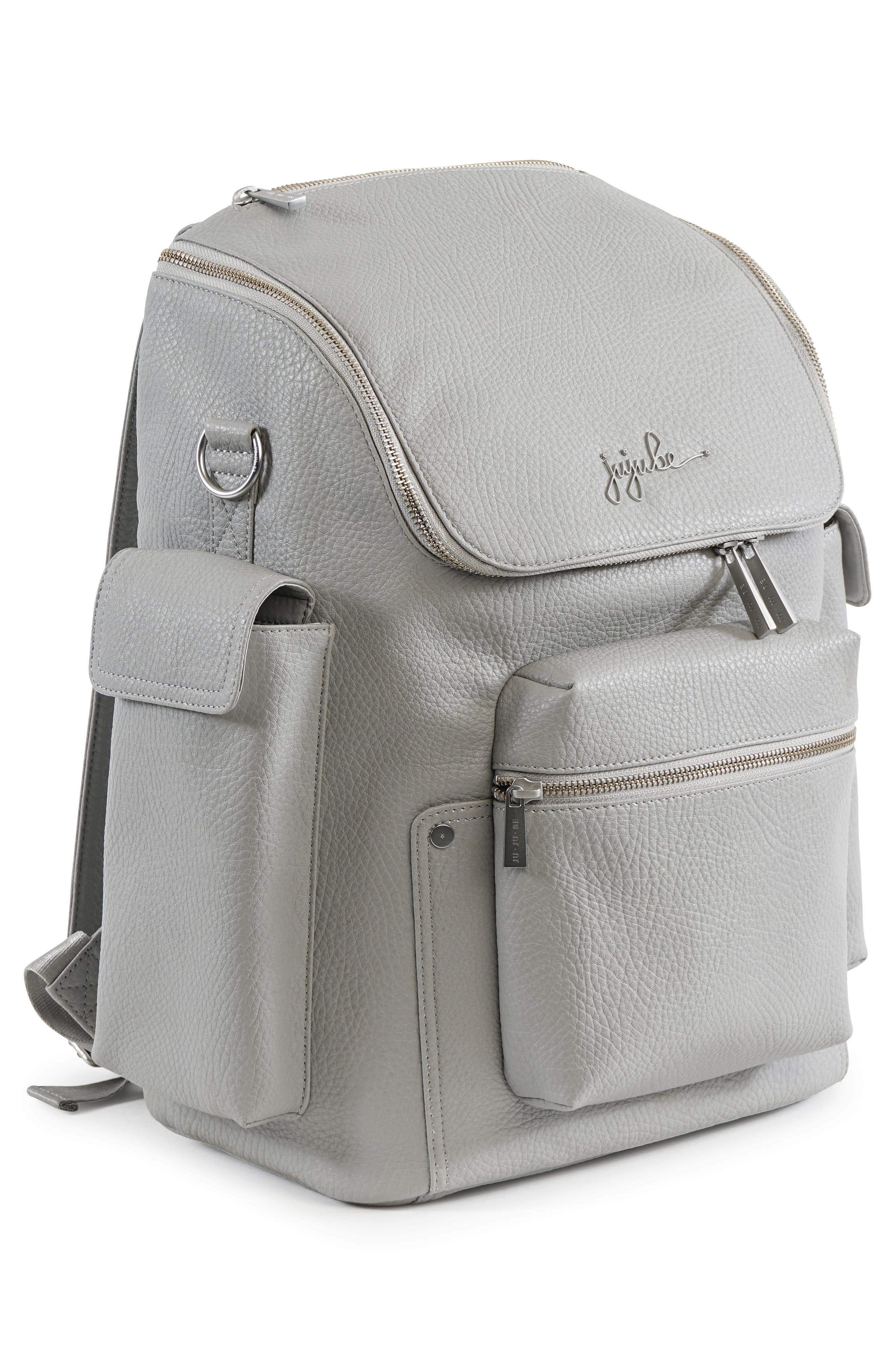 Ever Collection Forever Faux Leather Diaper Backpack,                             Alternate thumbnail 3, color,                             Stone