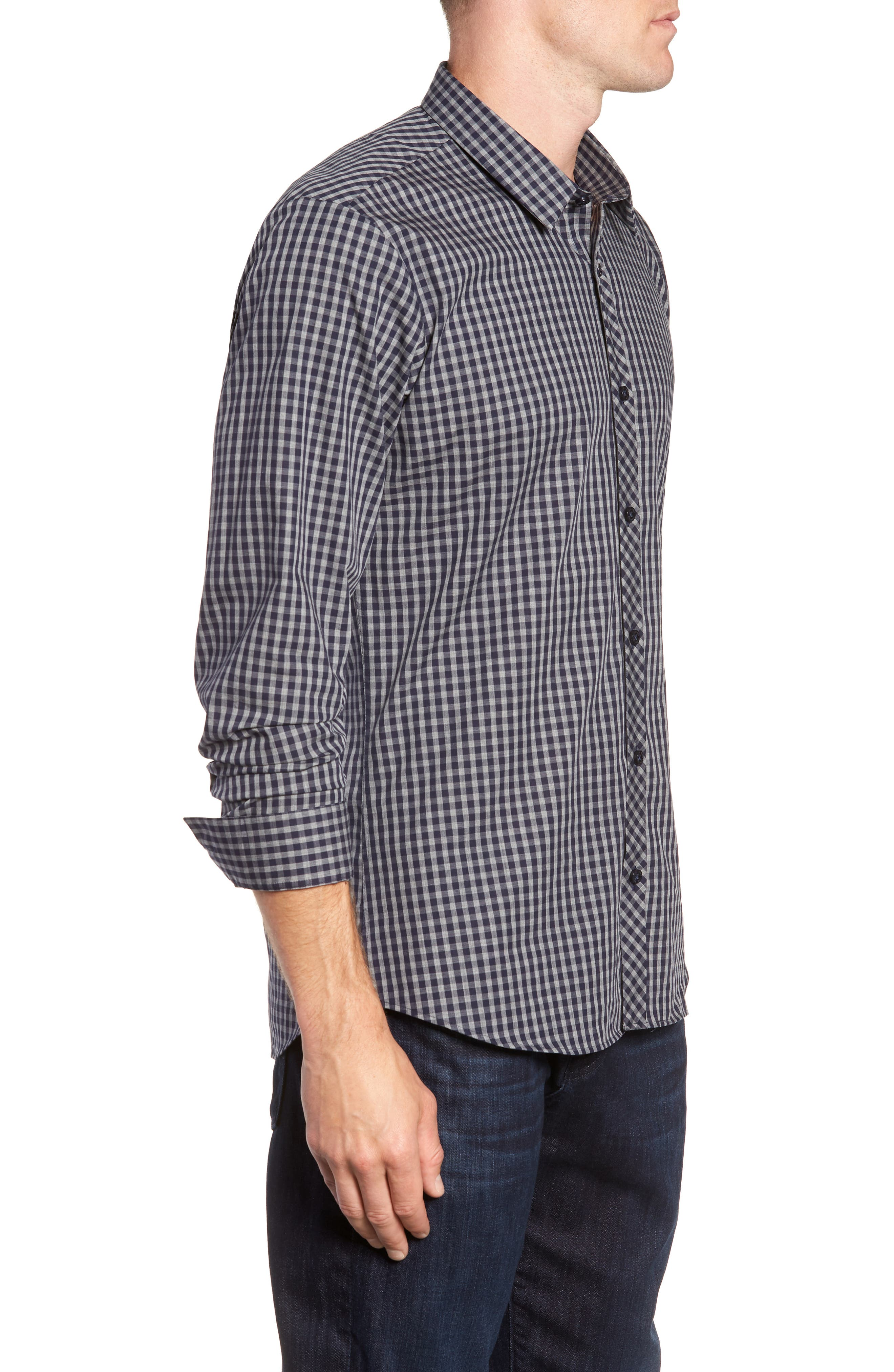 Trim Fit Sport Shirt,                             Alternate thumbnail 4, color,                             Navy Grey Check