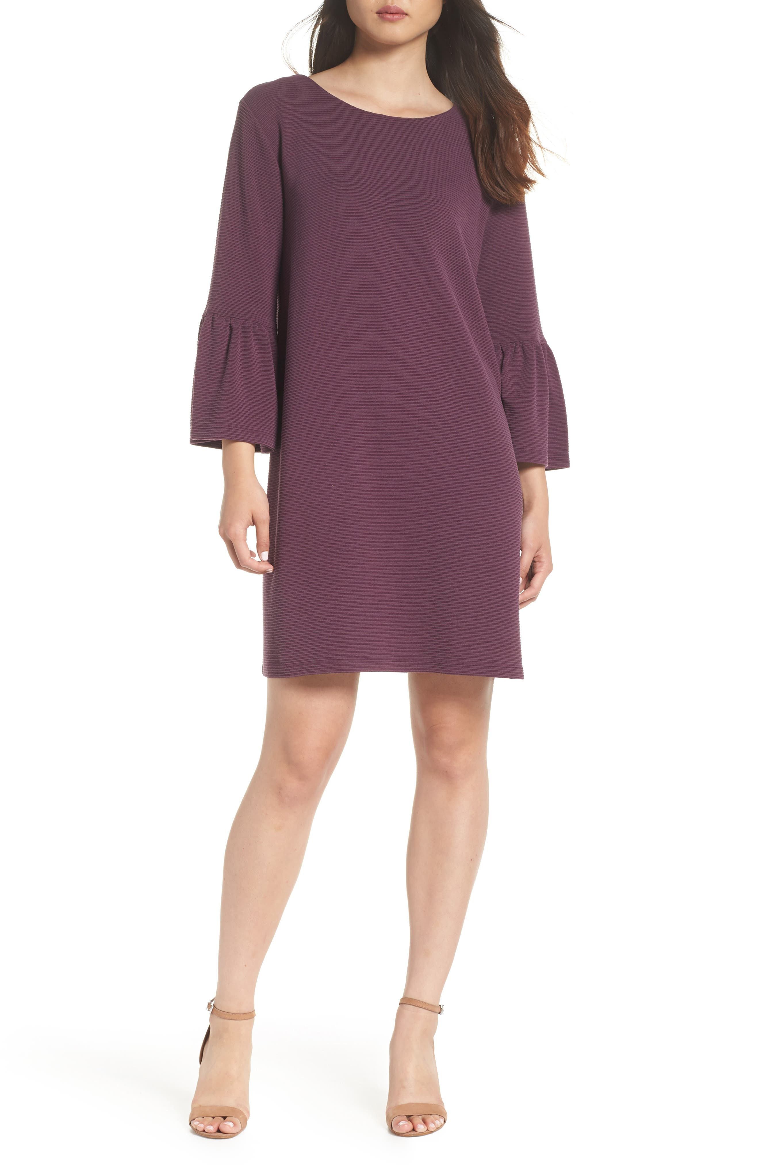 Paros Sudan Bell Sleeve Shift Dress,                         Main,                         color, Plum Noir