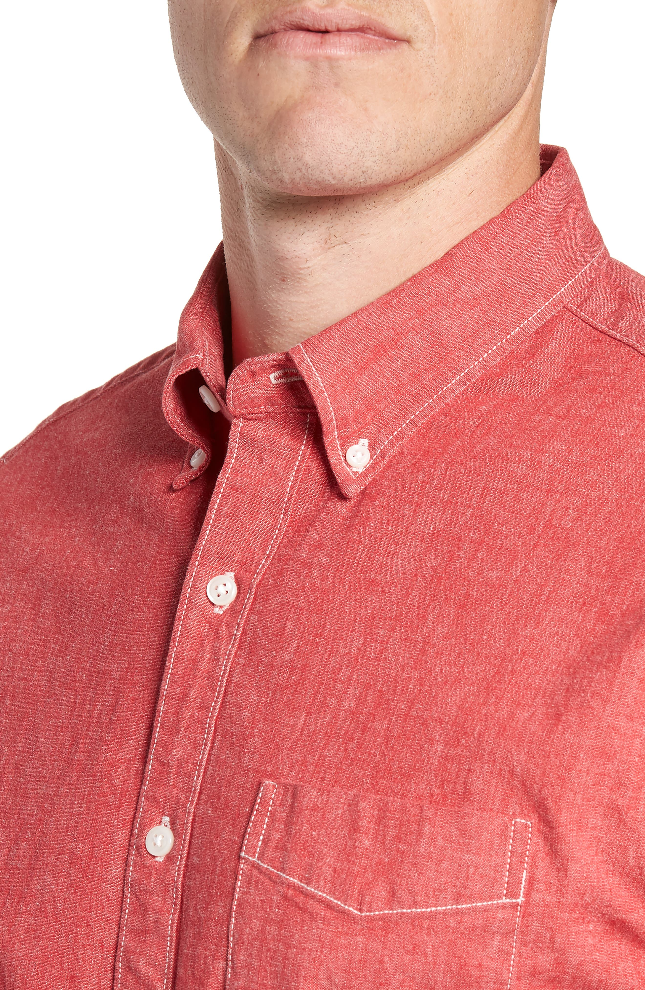 Slim Fit Stretch Chambray Sport Shirt,                             Alternate thumbnail 2, color,                             Coral Reef