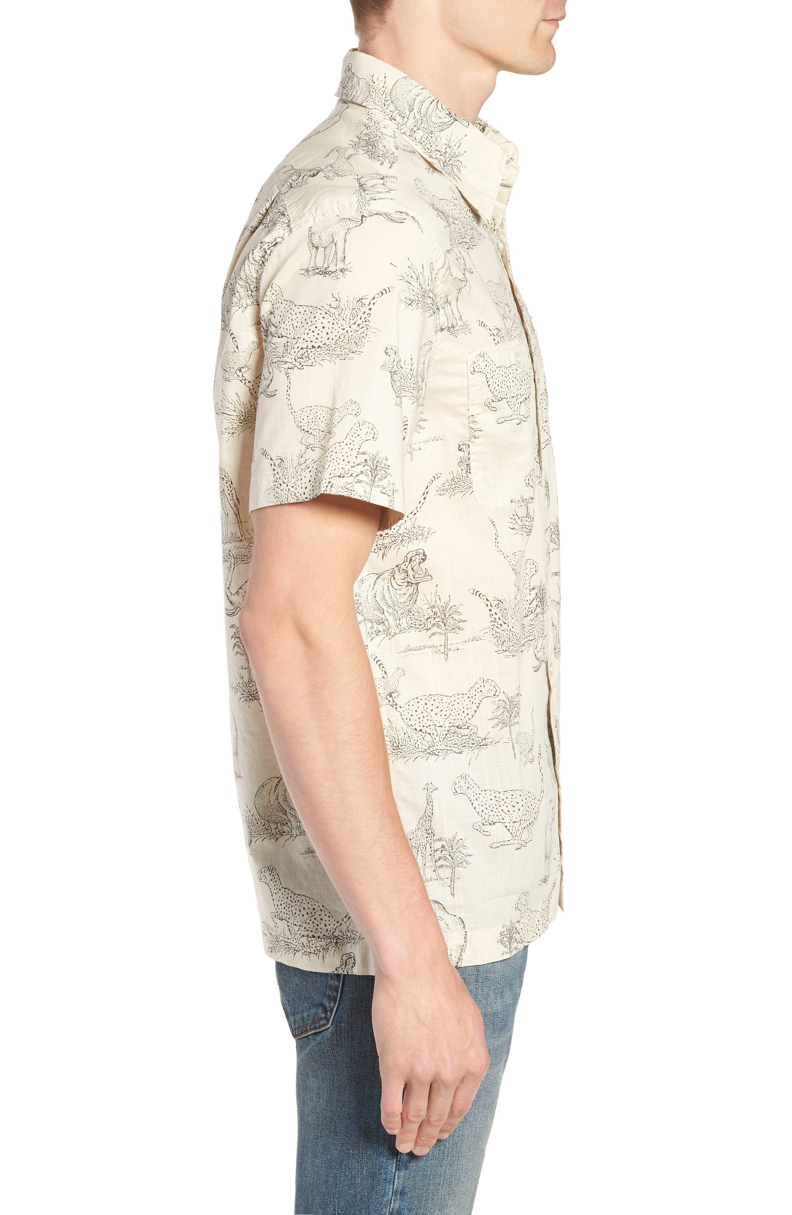Regular Fit Safari Print Sport Shirt,                             Alternate thumbnail 3, color,                             Ecru