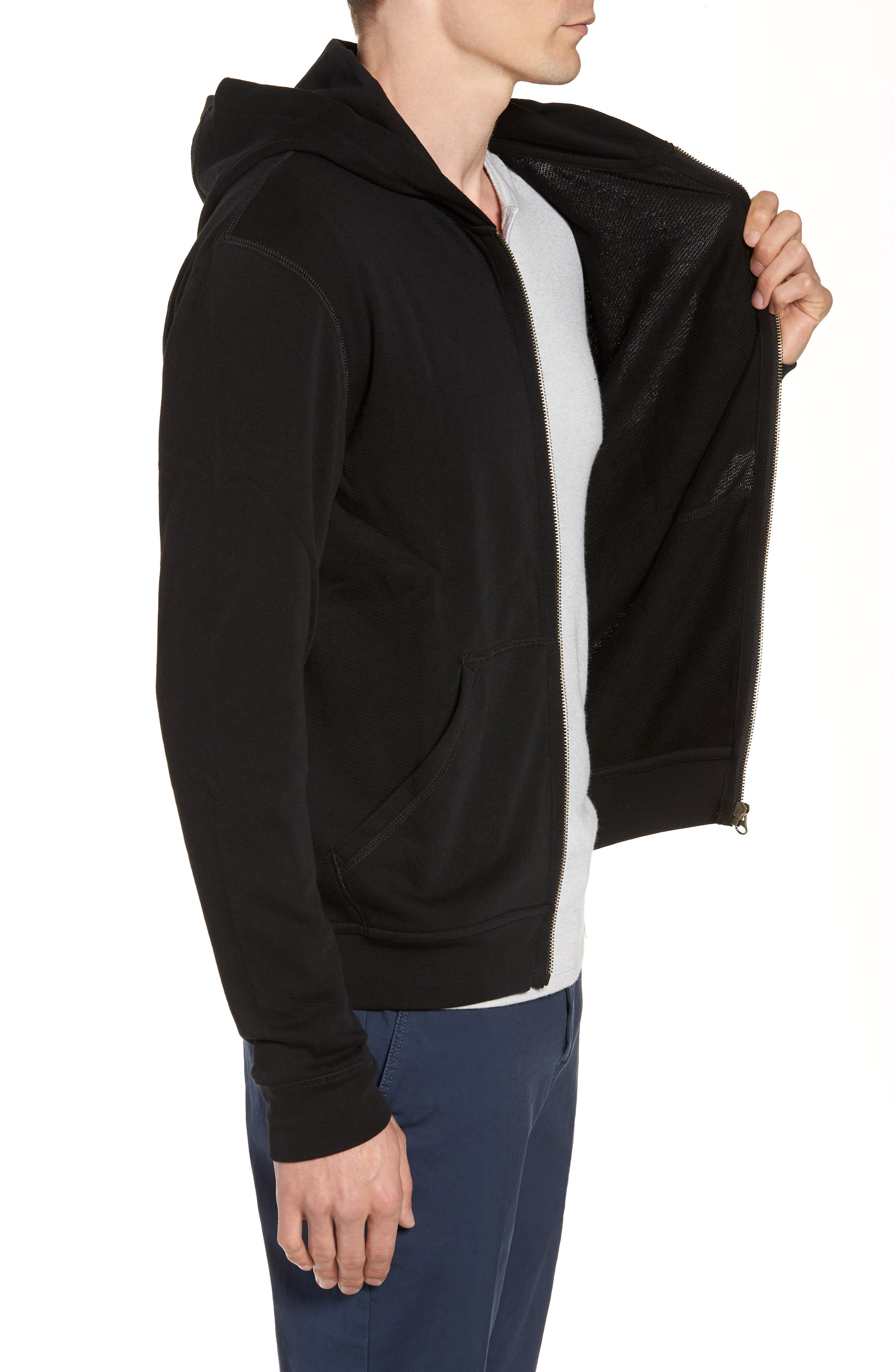 French Terry Zip Hoodie,                             Alternate thumbnail 2, color,                             Black