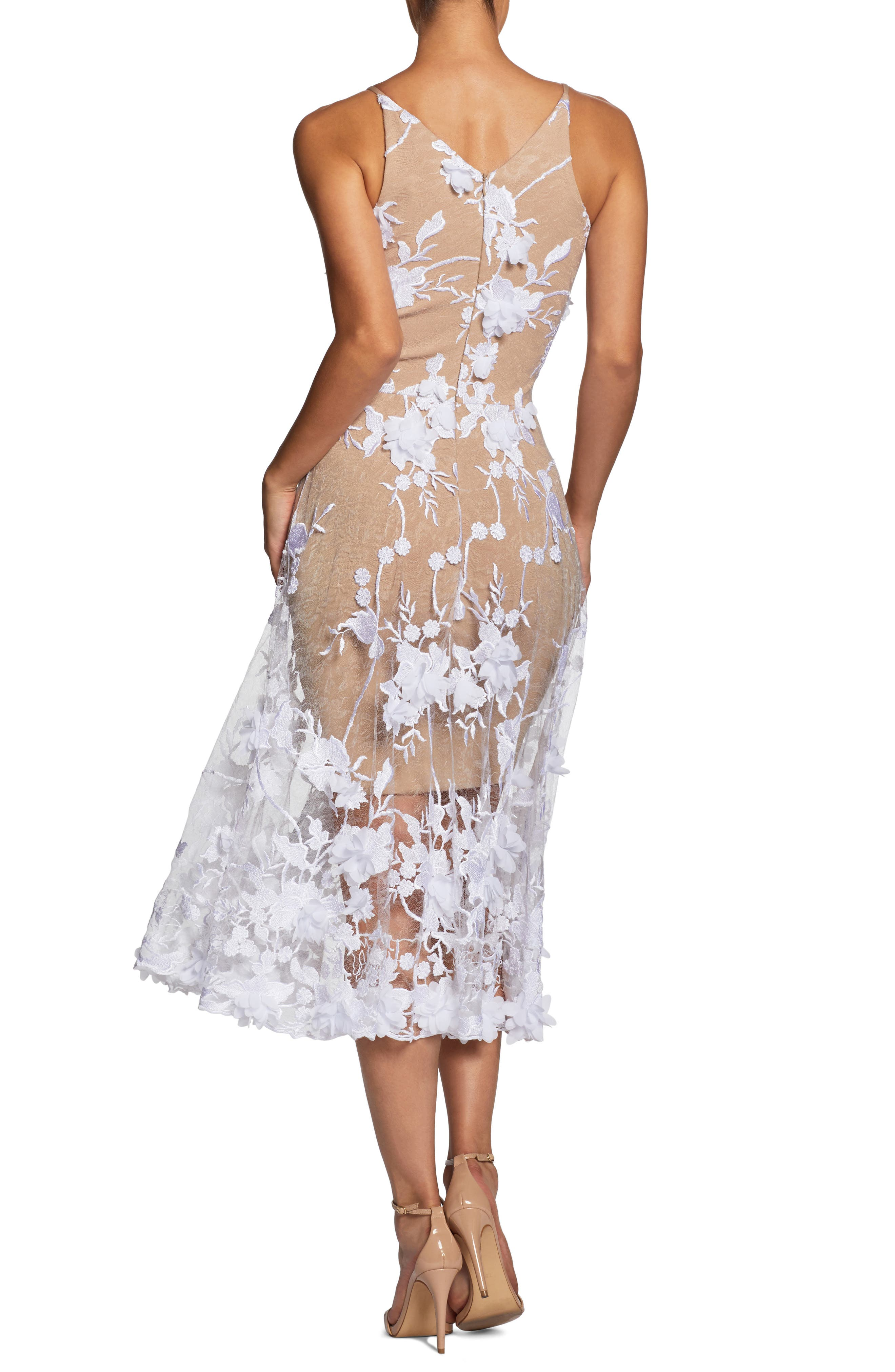 Audrey Embroidered Fit & Flare Dress,                             Alternate thumbnail 2, color,                             Off White/ Nude