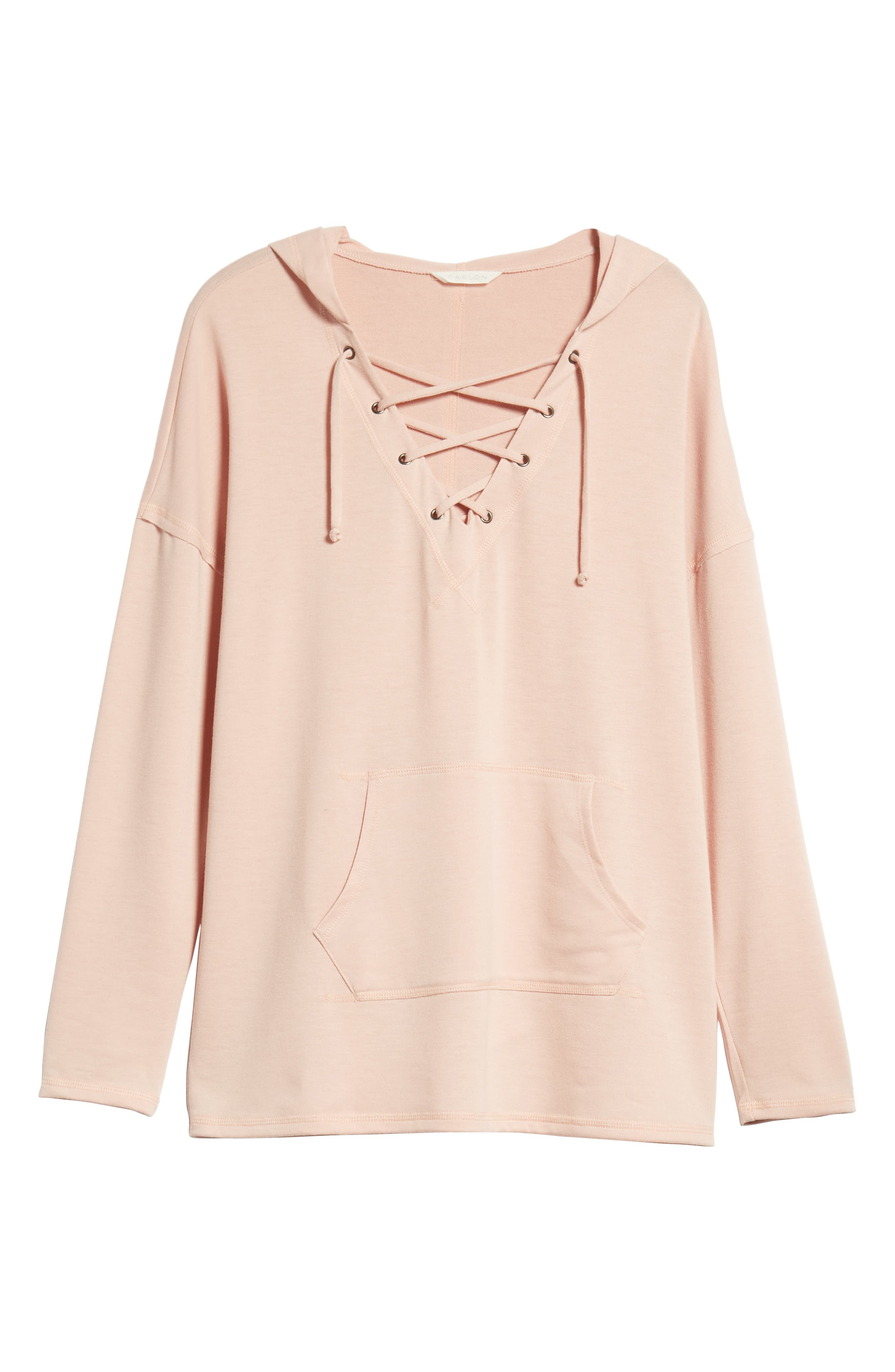 Lace-Up Hooded Sweatshirt,                             Alternate thumbnail 6, color,                             Pink Adobe
