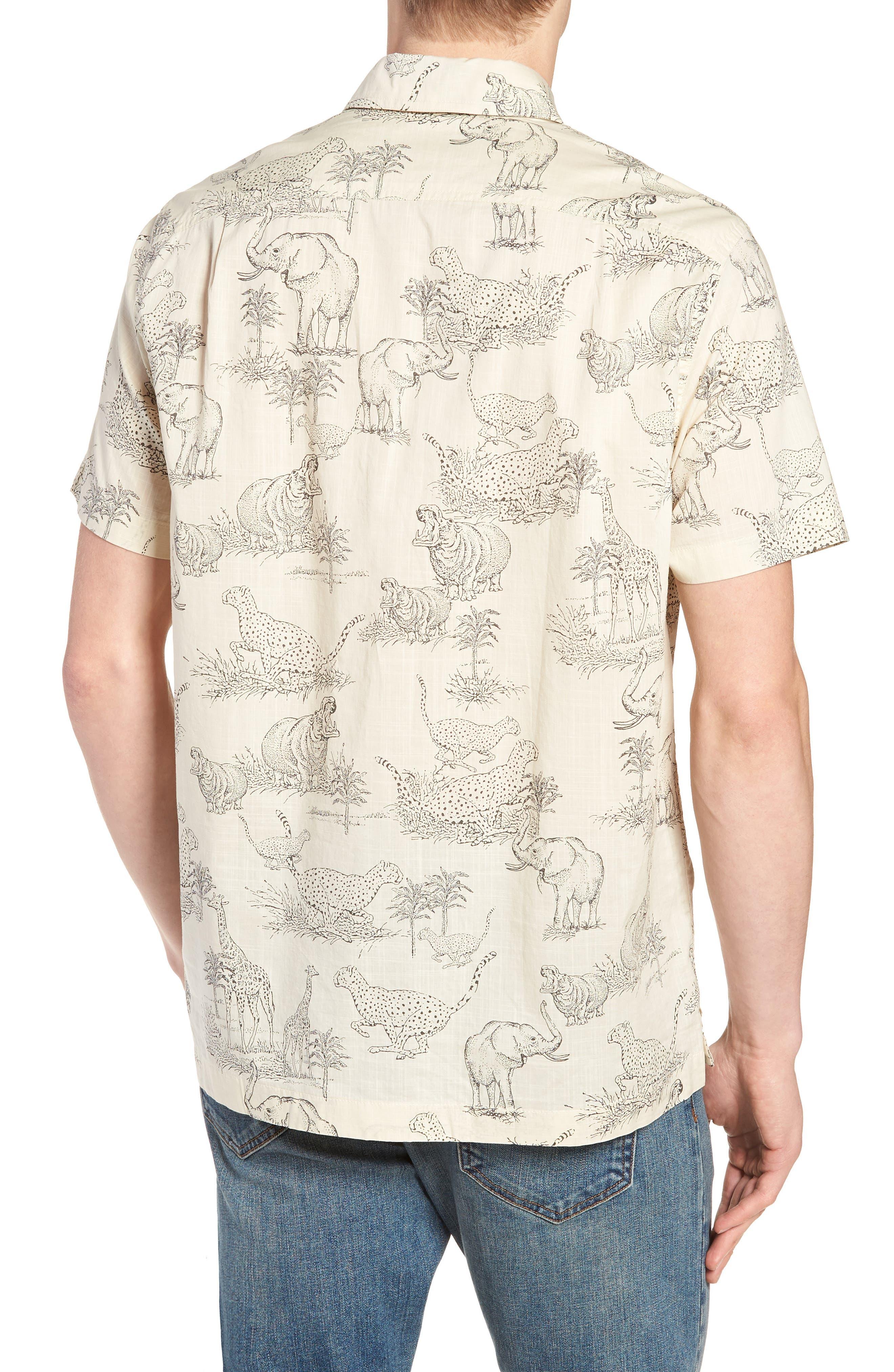 Regular Fit Safari Print Sport Shirt,                             Alternate thumbnail 5, color,                             Ecru