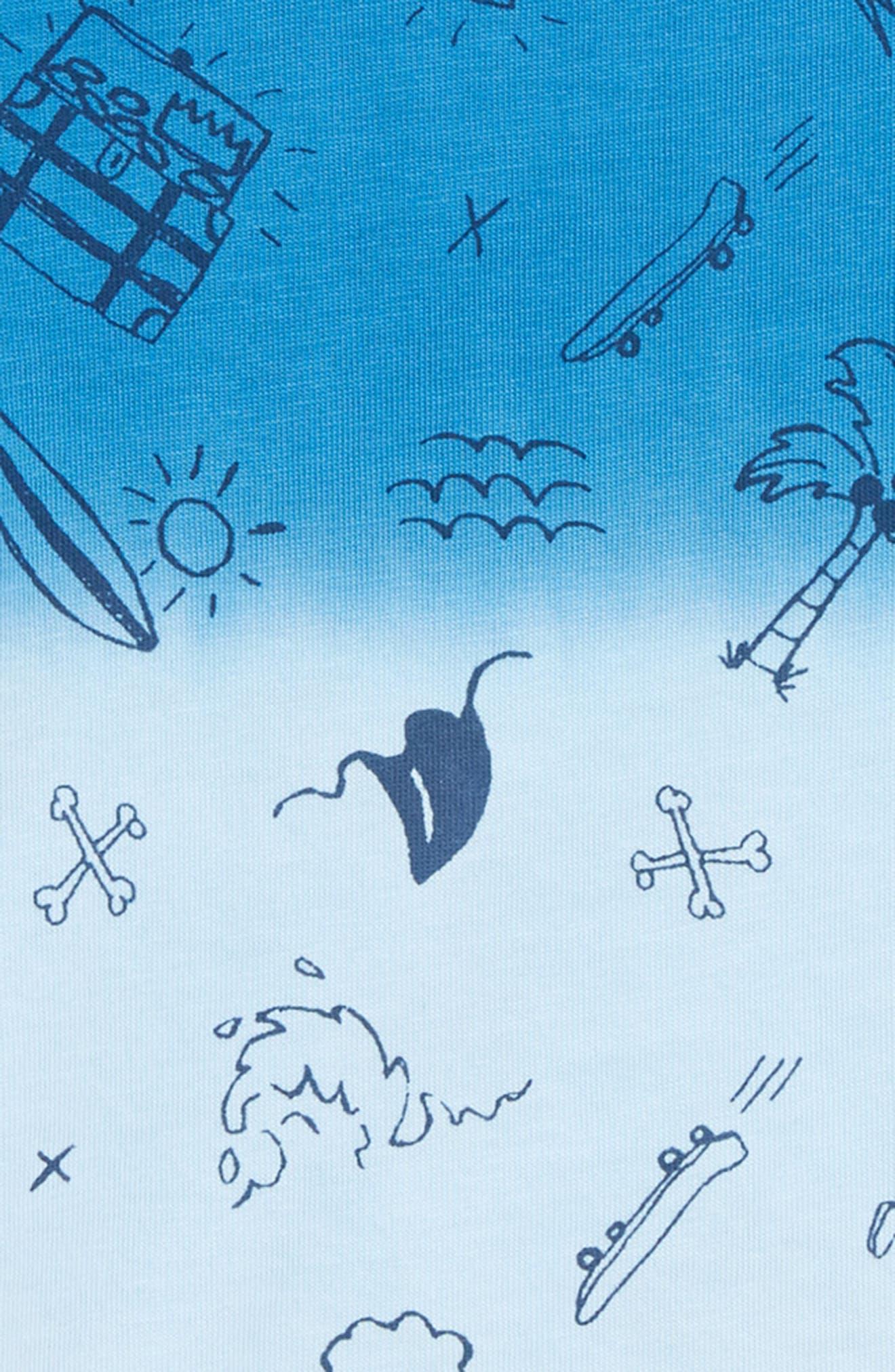 Ombré T-Shirt,                             Alternate thumbnail 2, color,                             Blue French Ocean Symbols