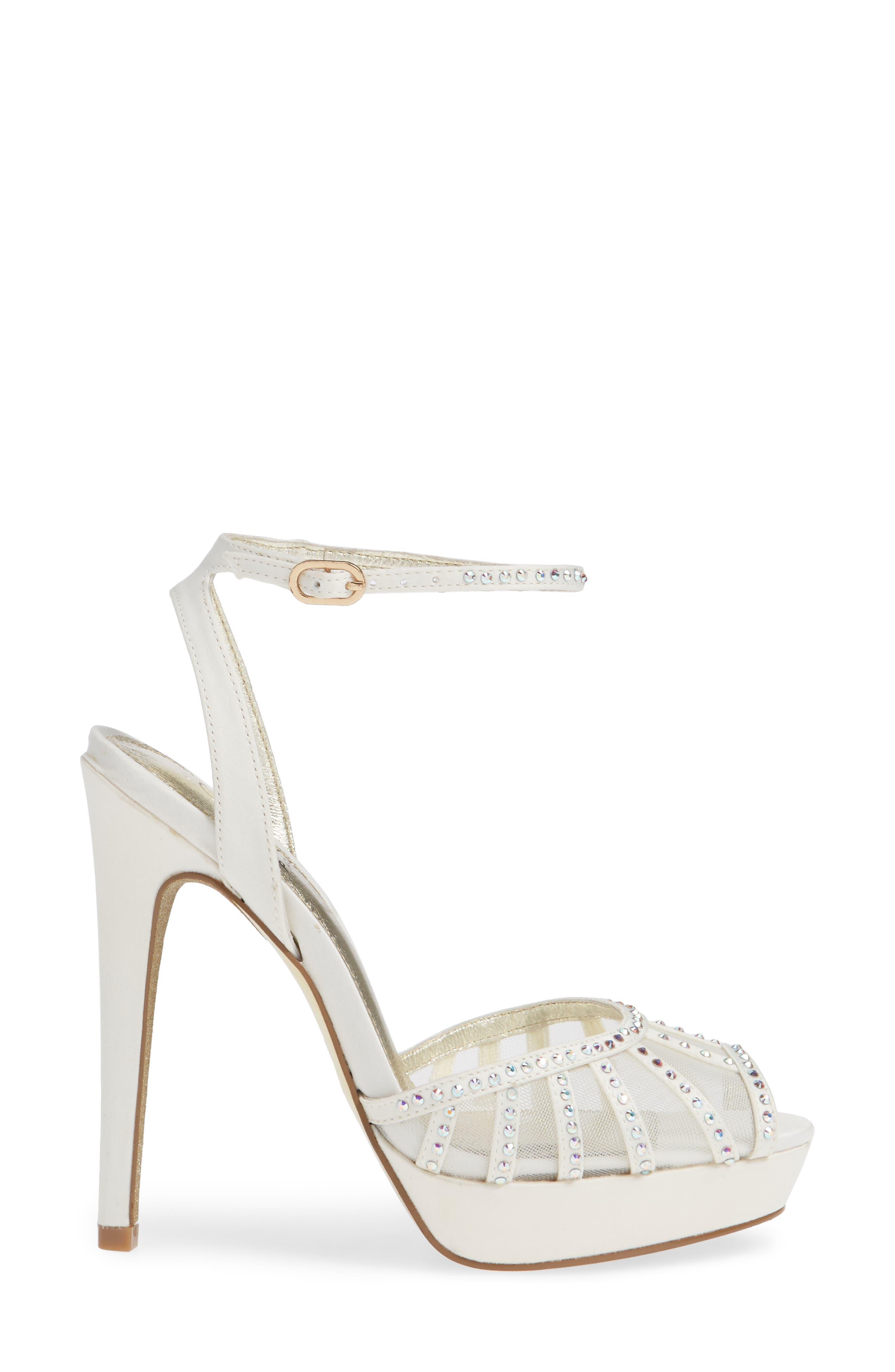 Simone Crystal Embellished Platform Sandal,                             Alternate thumbnail 5, color,                             Ivory