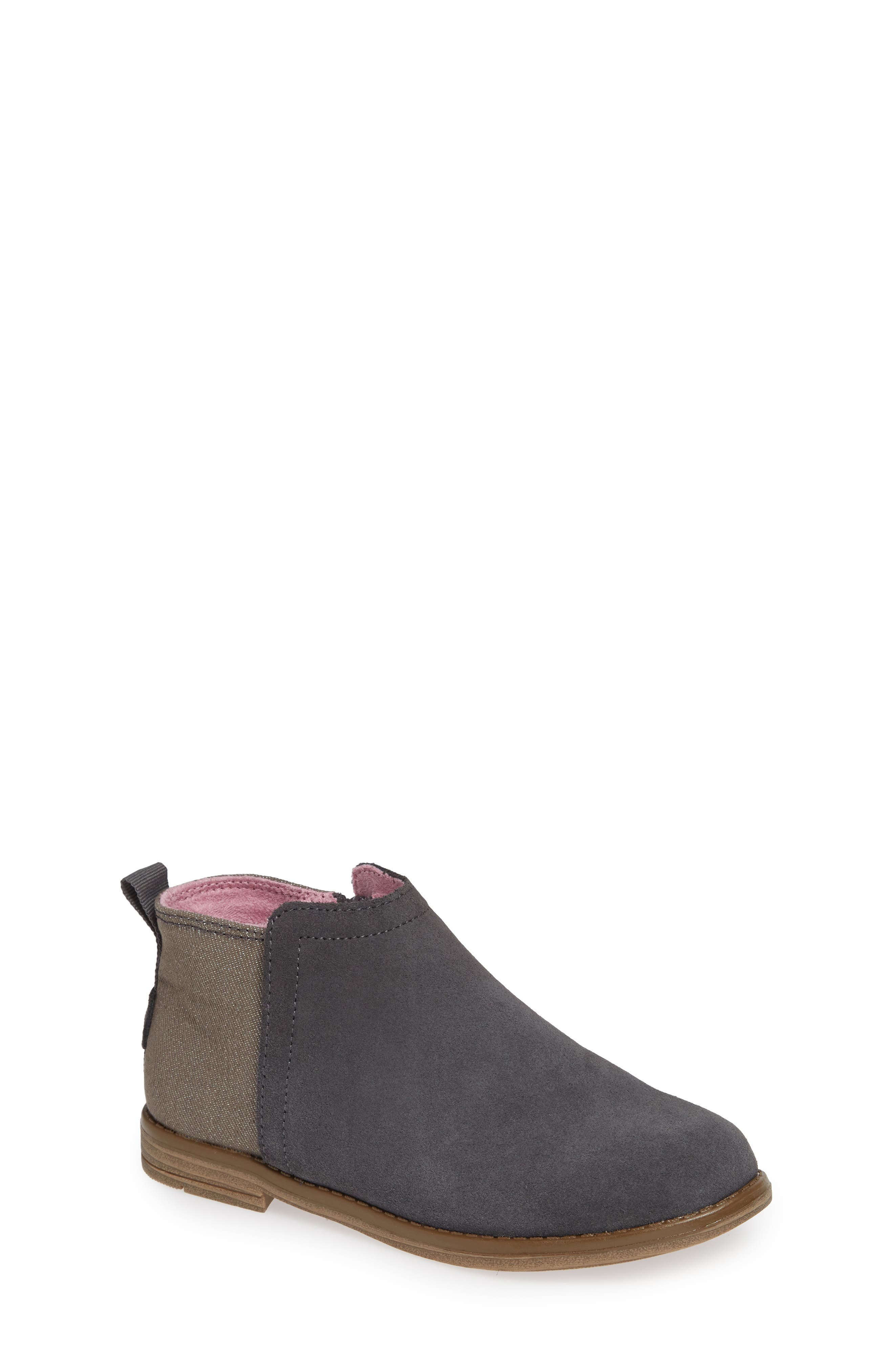 Deia Mixed Media Bootie,                             Main thumbnail 1, color,                             Grey Suede Glimmer