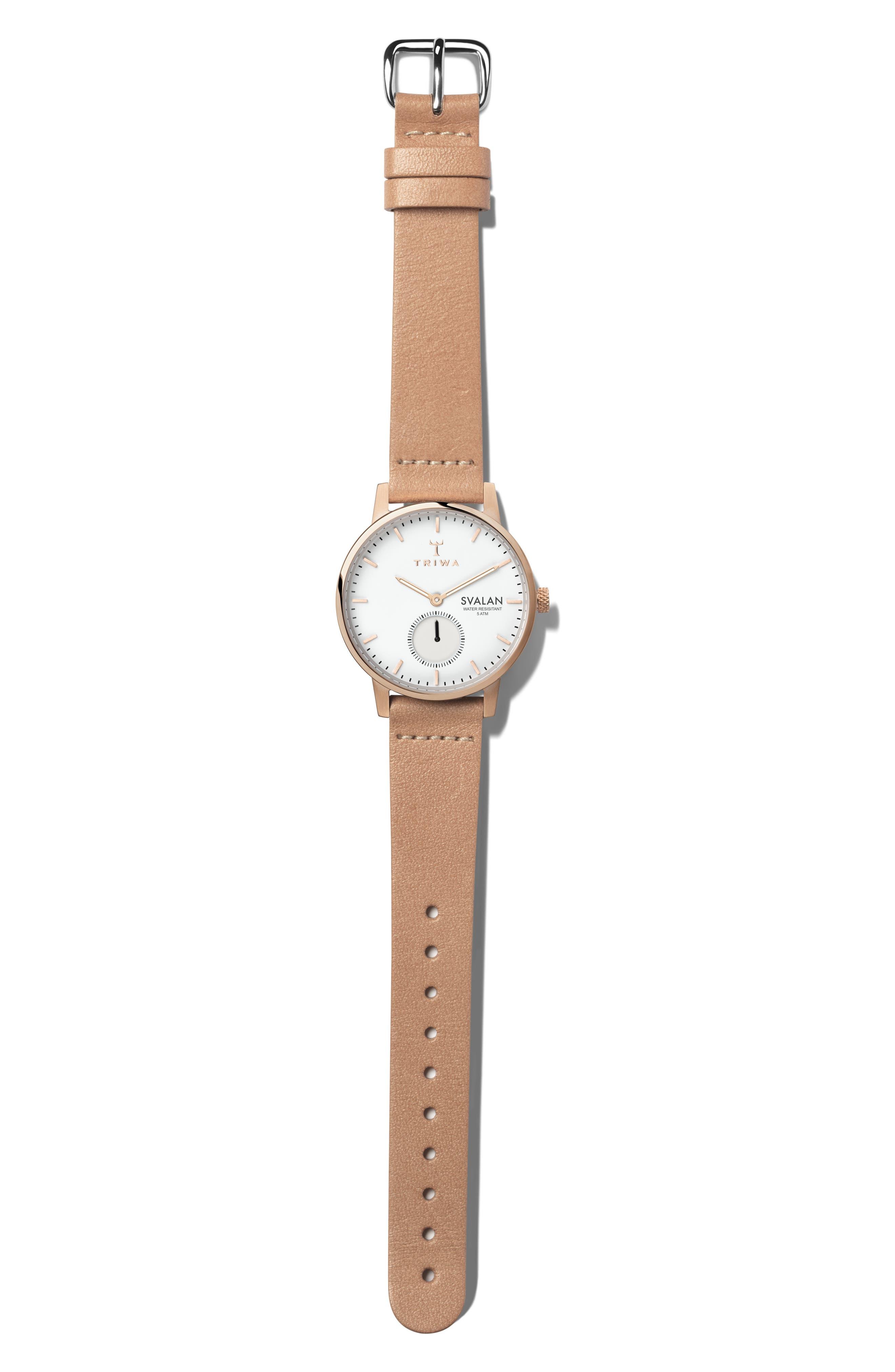 TRIWA Rose Svalan Leather Strap Watch, 34Mm in Rose/ White/ Gold
