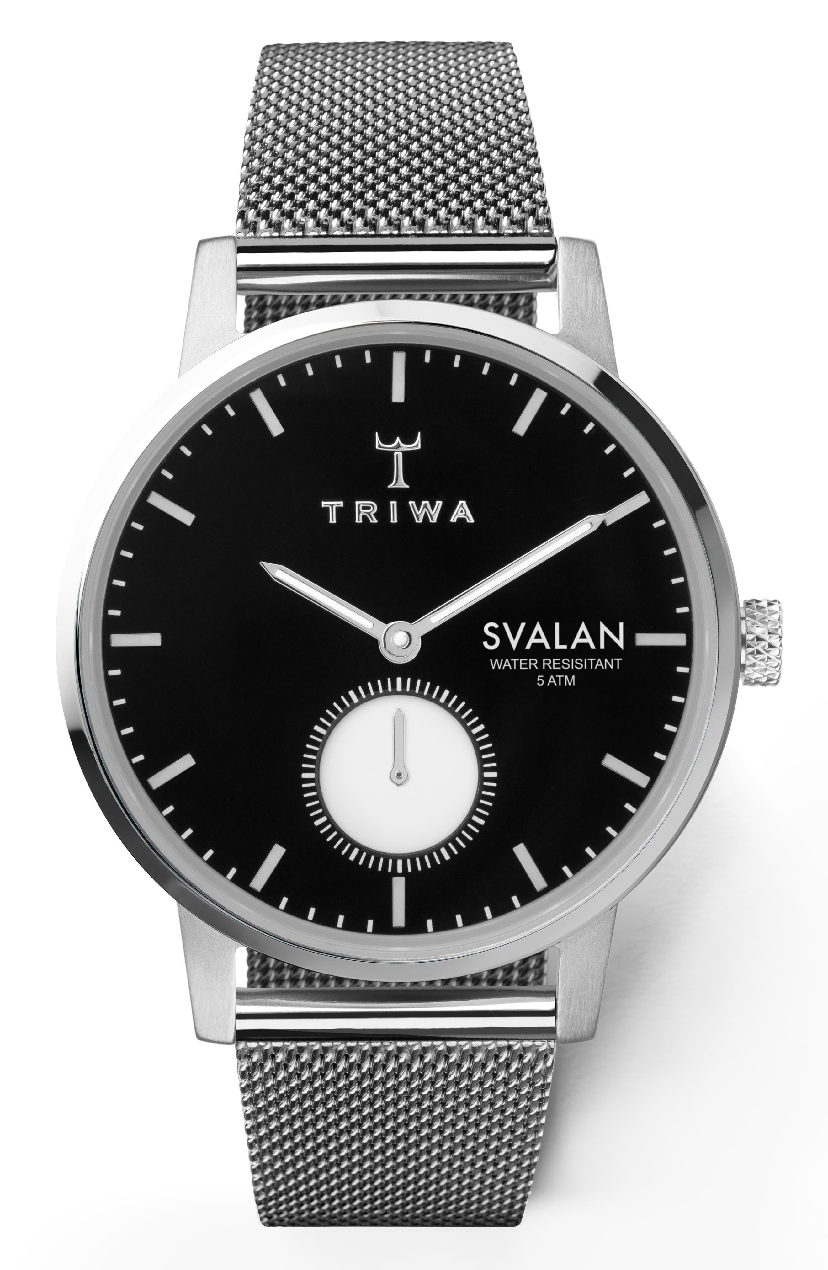 TRIWA Ebony Svalan Mesh Strap Watch, 34Mm in Silver/ Black/ Silver