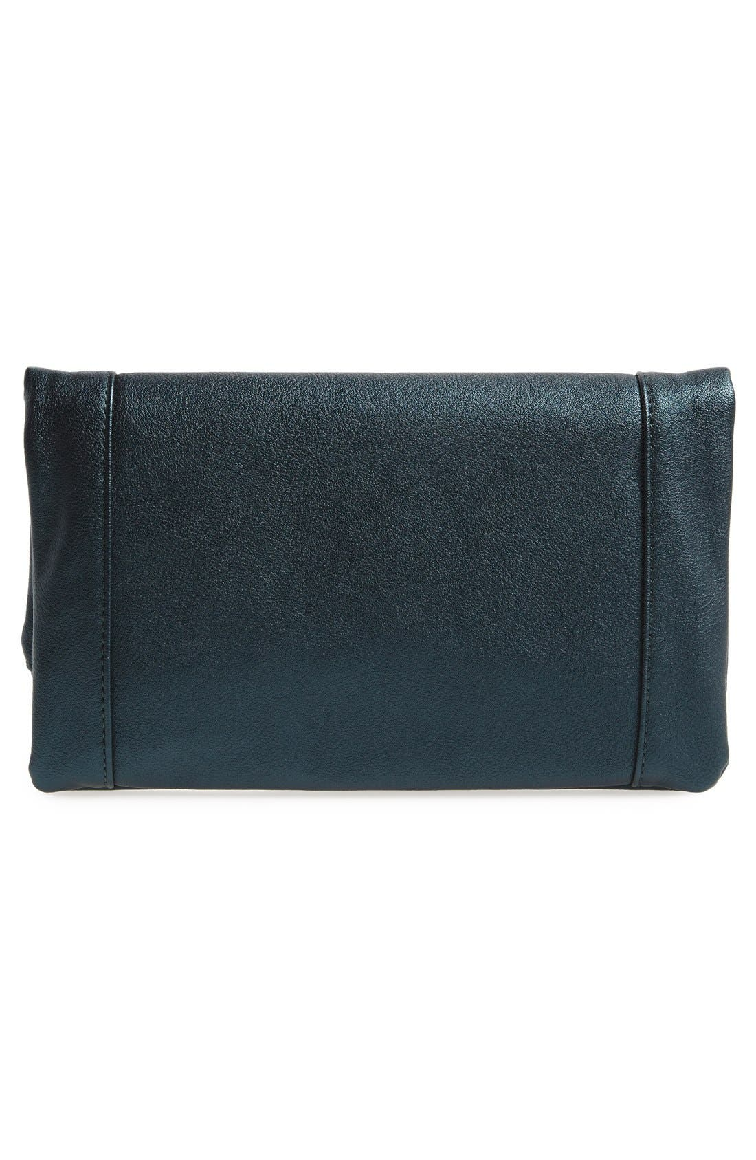 'Marlena' Faux Leather Foldover Clutch,                             Alternate thumbnail 3, color,                             Deep Teal