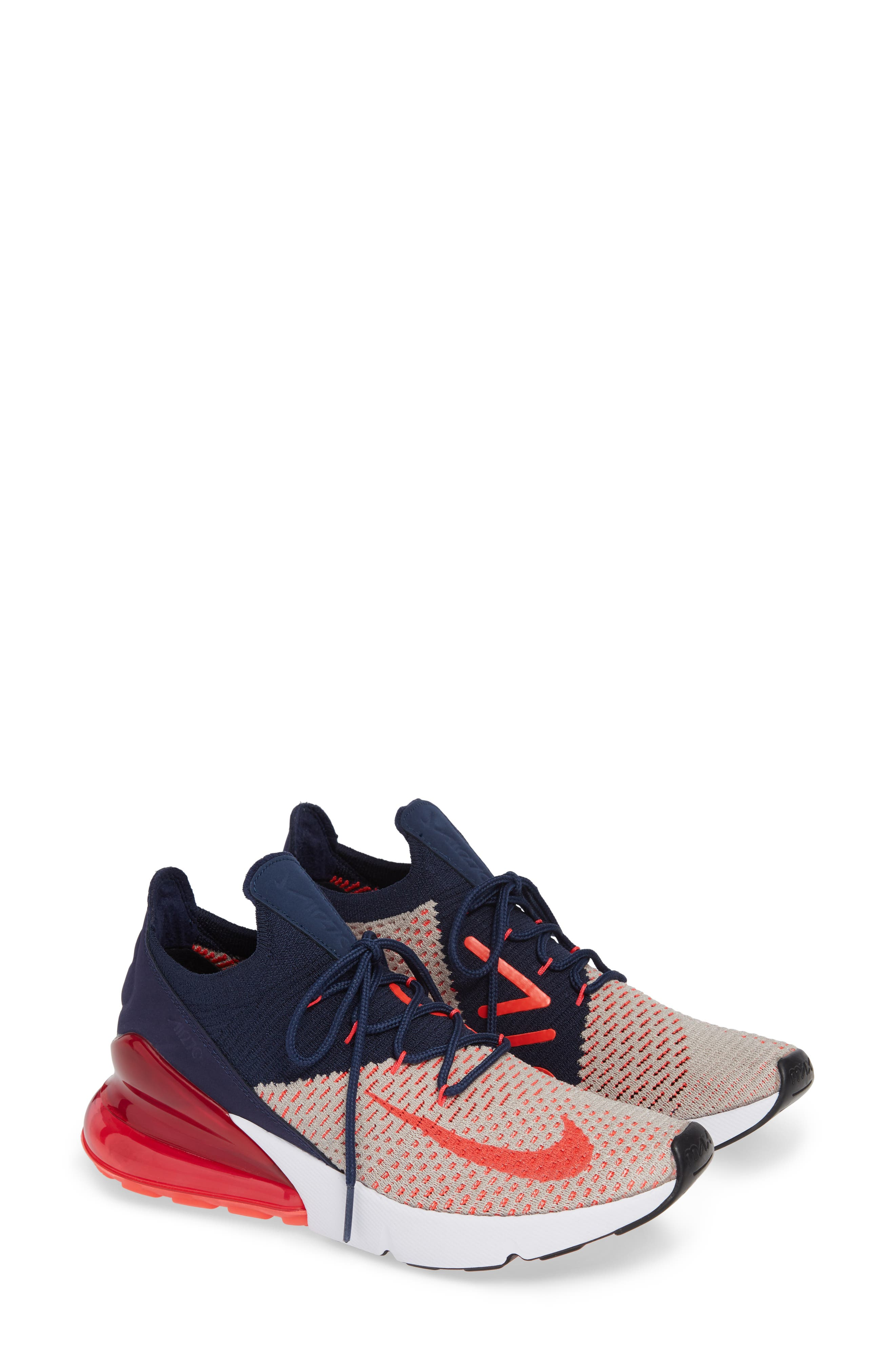 Air Max 270 Flyknit Sneaker,                             Main thumbnail 1, color,                             Moon Particle/ Red Orbit/ Navy