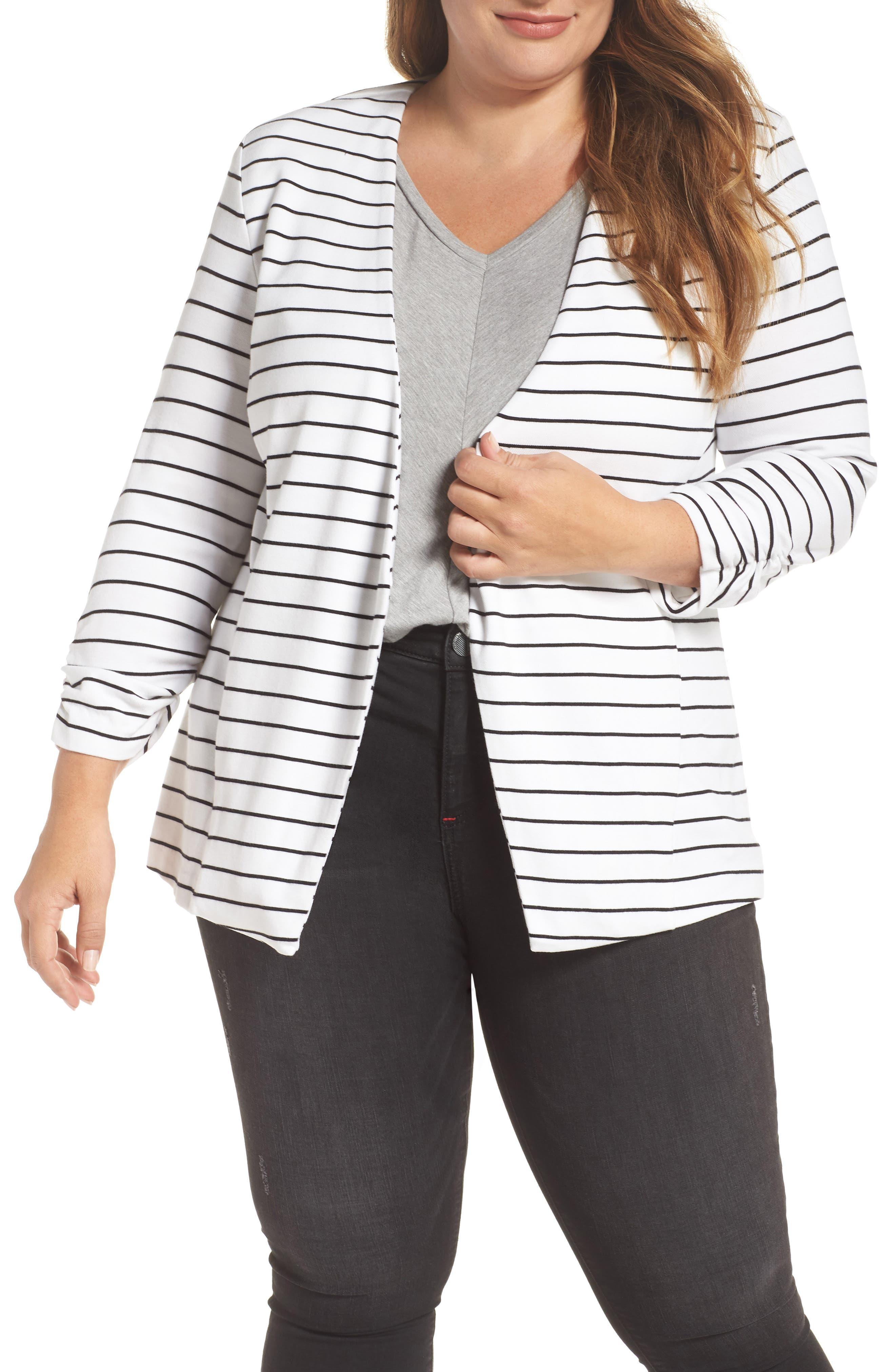 'Olga' Knit Jacket,                             Main thumbnail 1, color,                             Open Stripe